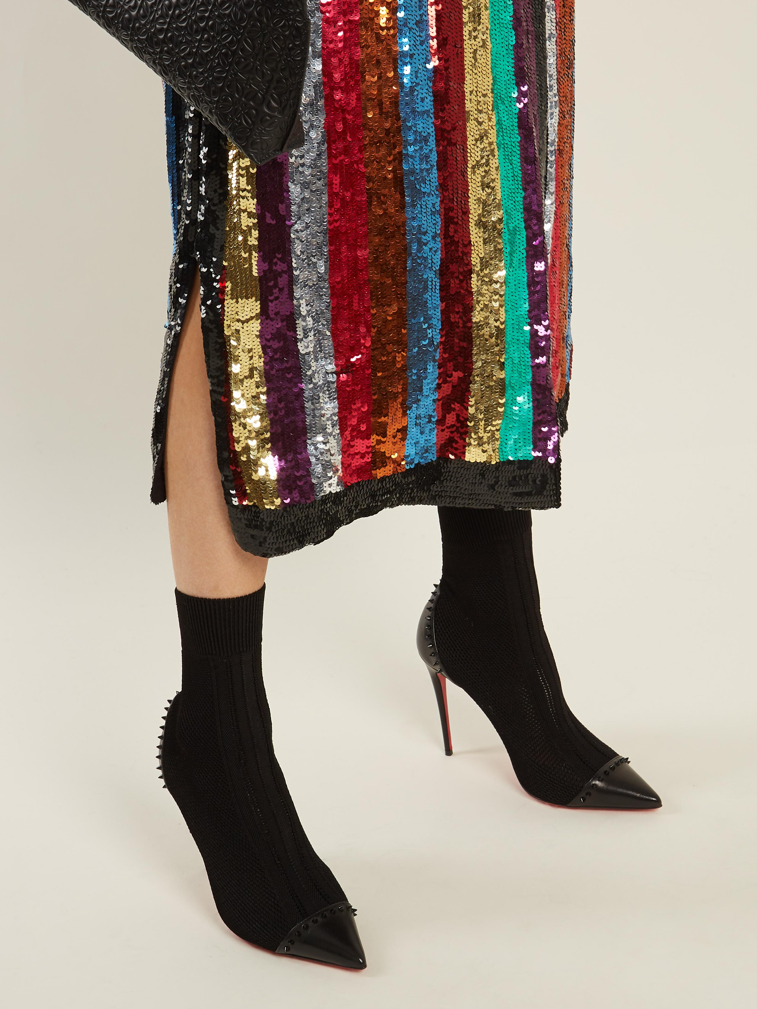 Lyst - Christian Louboutin Dovi Dova Stud-embellished Sock Boots in ... 890da5374591