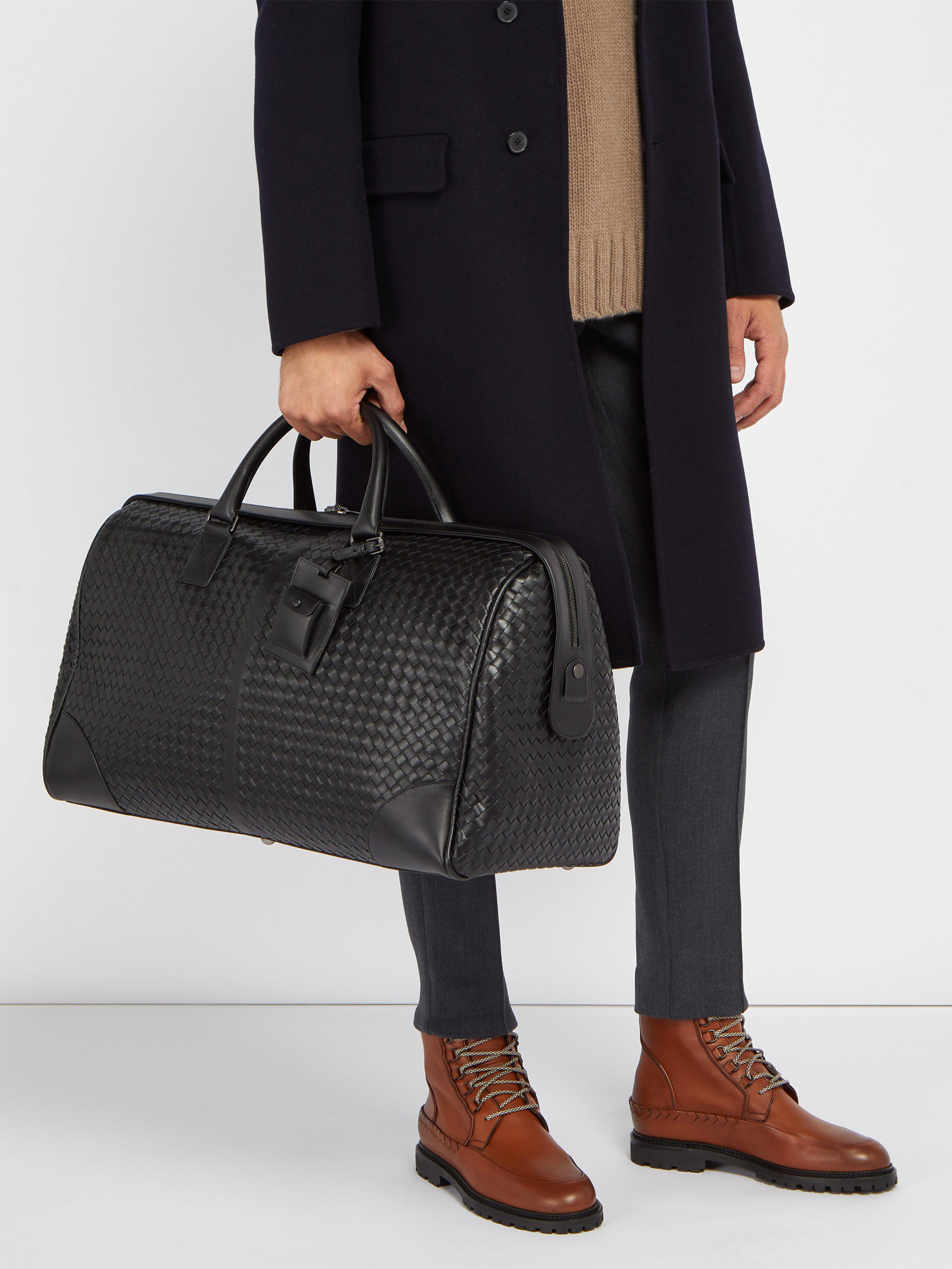 Lyst - Sac de voyage en cuir intrecciato Bottega Veneta pour homme ... 9dea59088de