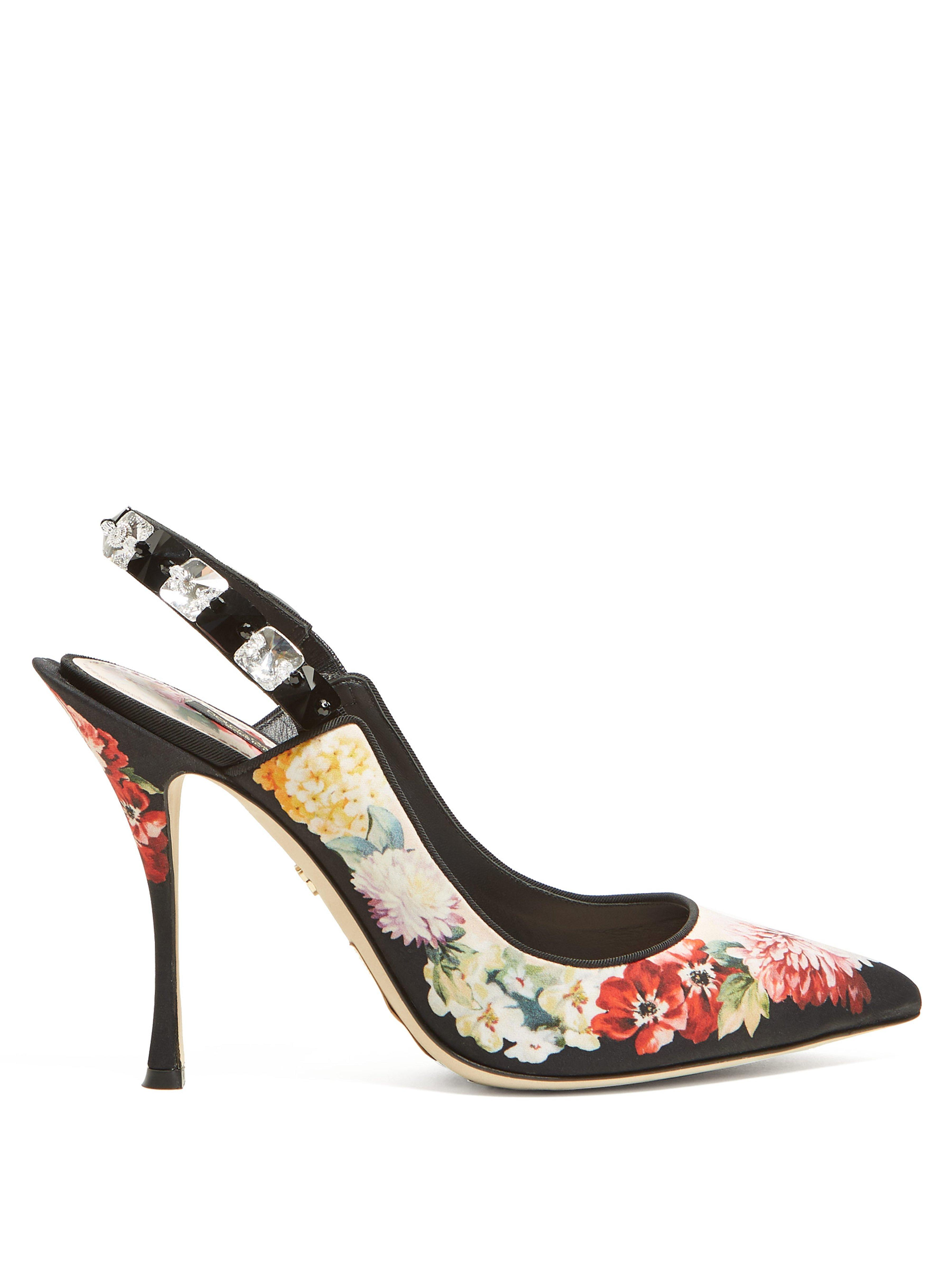 93ef55728f80 Dolce   Gabbana. Women s Black Floral Print Crystal Embellished Court Shoes