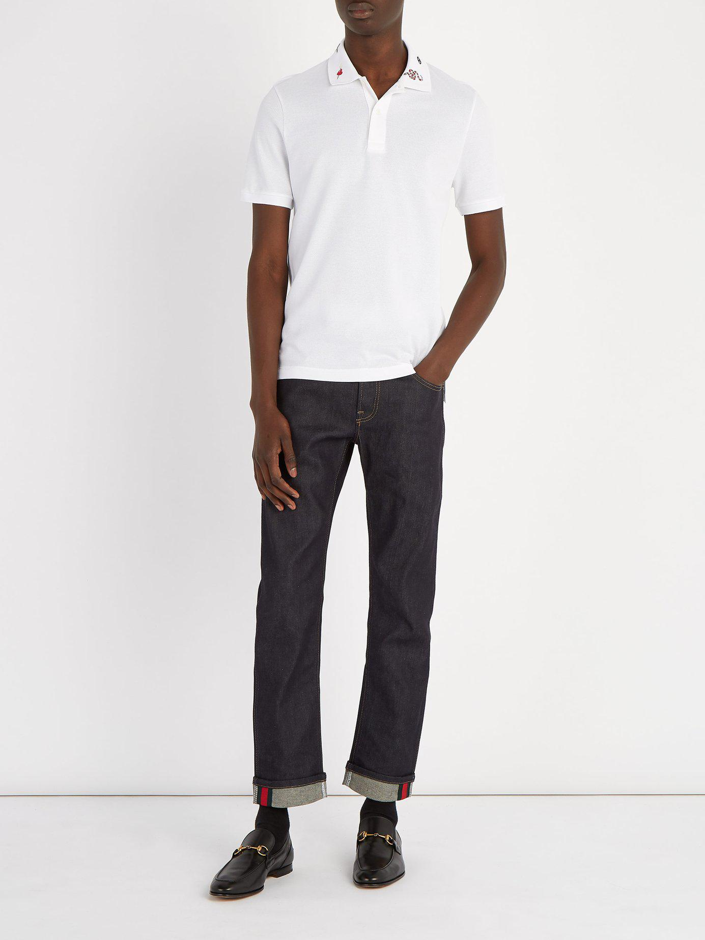 3f231047540 Gucci Embroidered Collar Cotton Blend Piqué Polo Shirt in White for Men -  Lyst