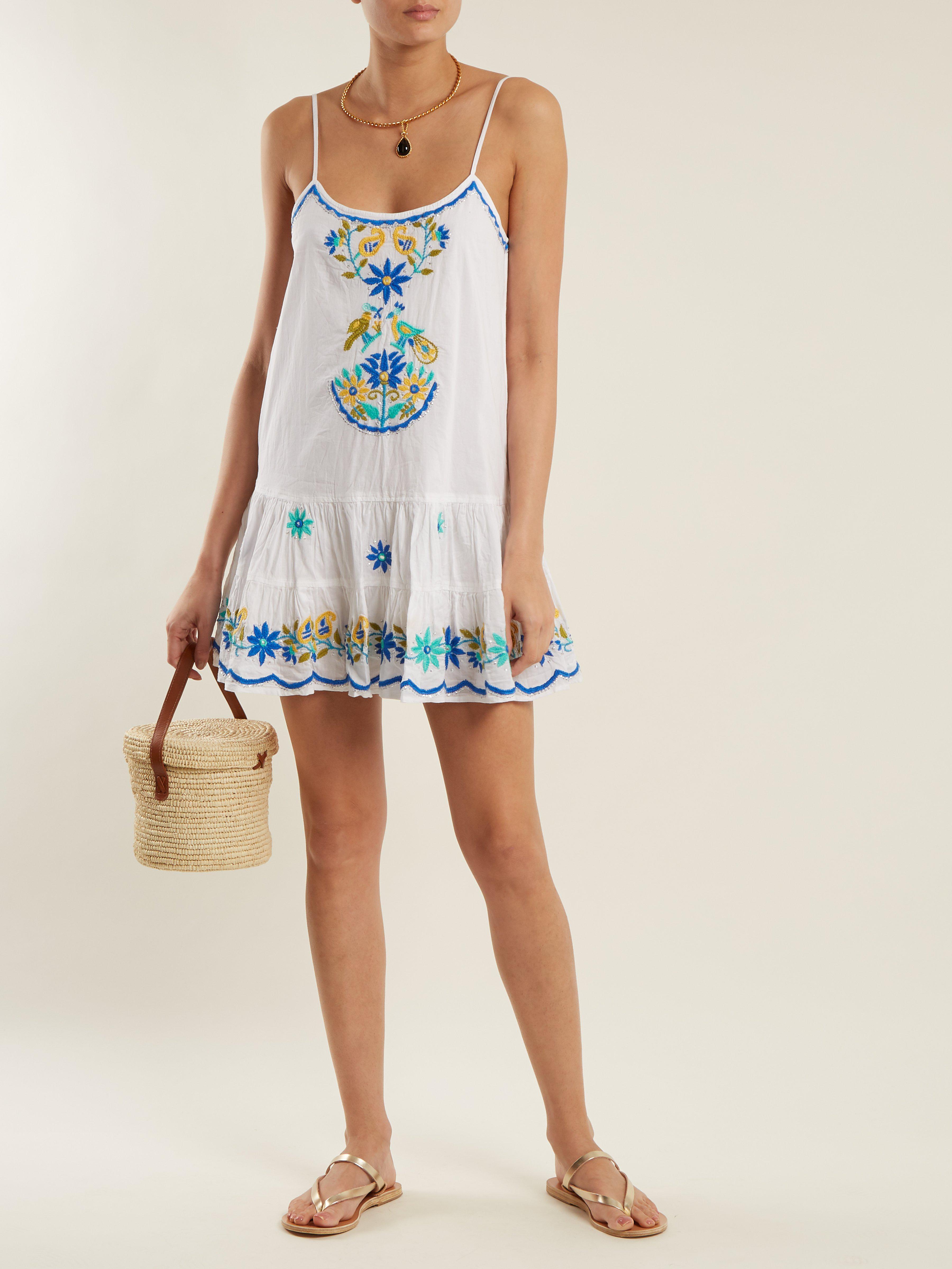 Vestido azul bordado de Dunn algodón de Lyst floral Juliet BxBqr7w4