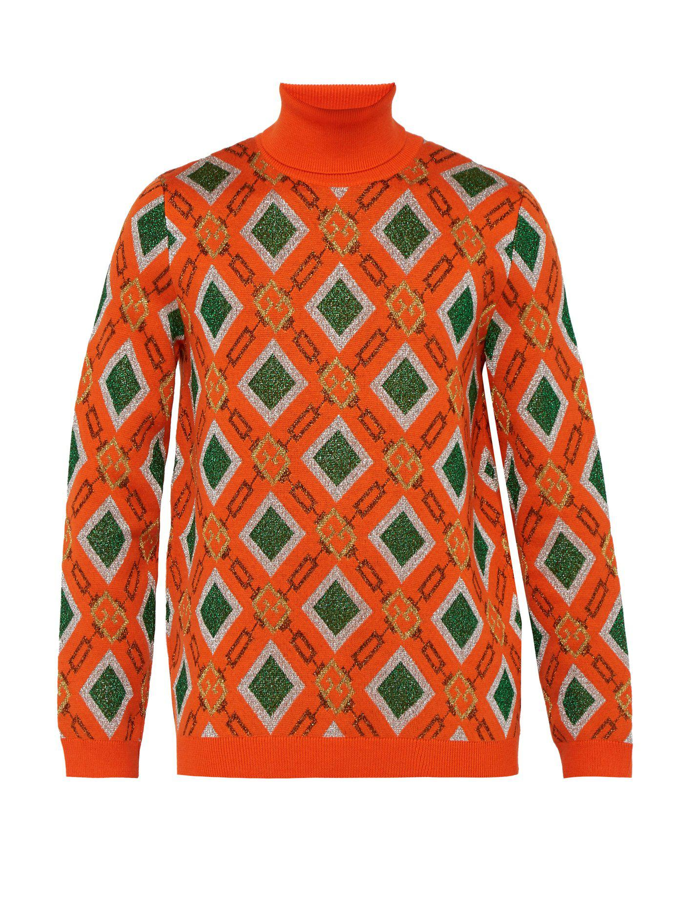 4facb735cae2 Lyst - Gucci Metallic Logo Jacquard Wool Blend Sweater in Orange for Men