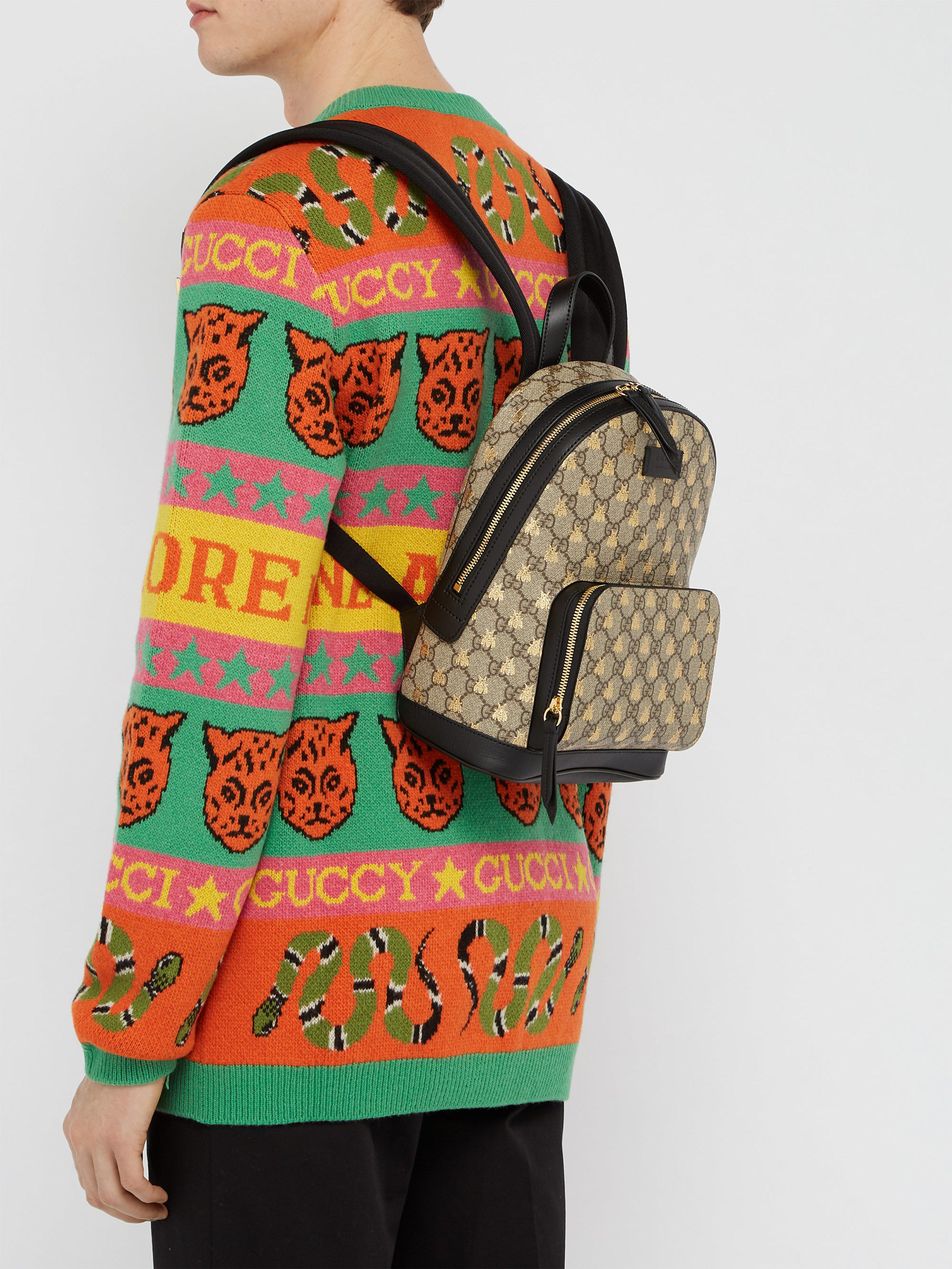 Gucci - Multicolor Gg Supreme Logo And Bee Backpack for Men - Lyst. View  fullscreen dbeeab4cb2