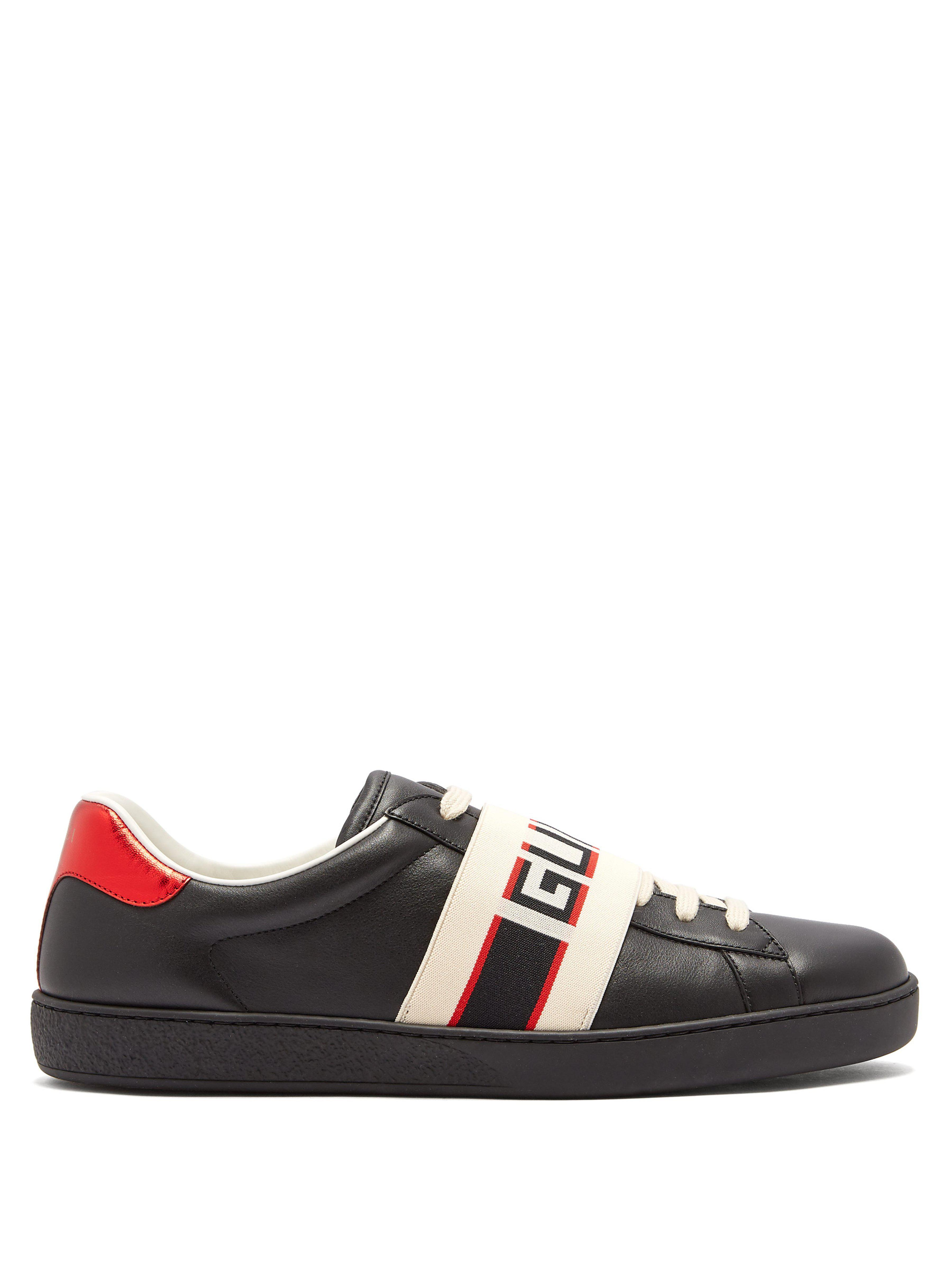 483ff81d8fe Gucci New Ace Low Top Leather Trainers in Black for Men - Save 1% - Lyst