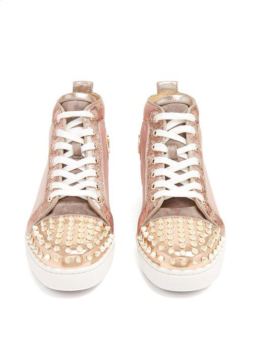 7ba031f1073d Lyst - Christian Louboutin Lou Stud-embellished Suede High-top ...