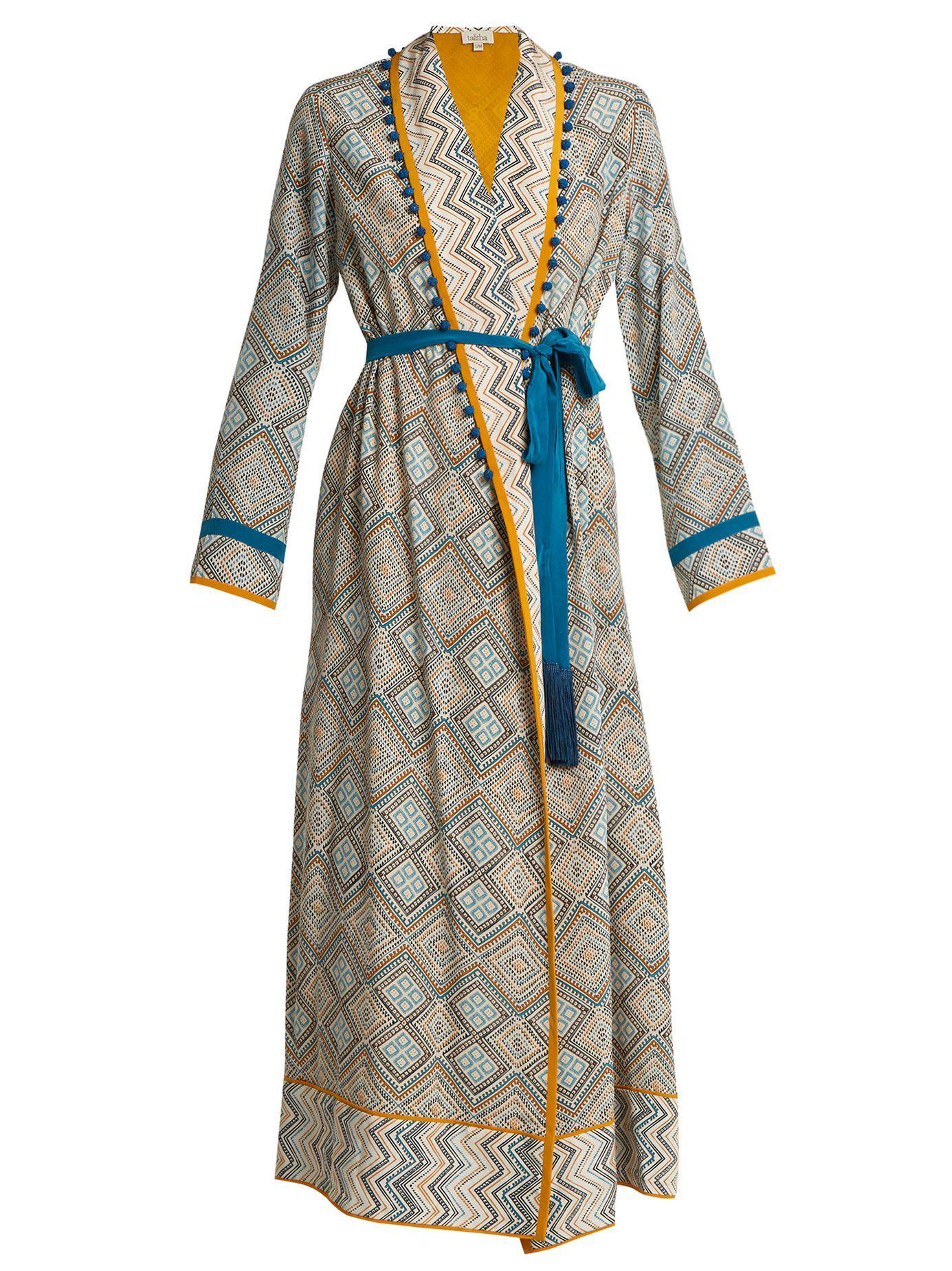 6747d4224b Lyst - Talitha Maghreb-print Silk-crepe Robe in Blue
