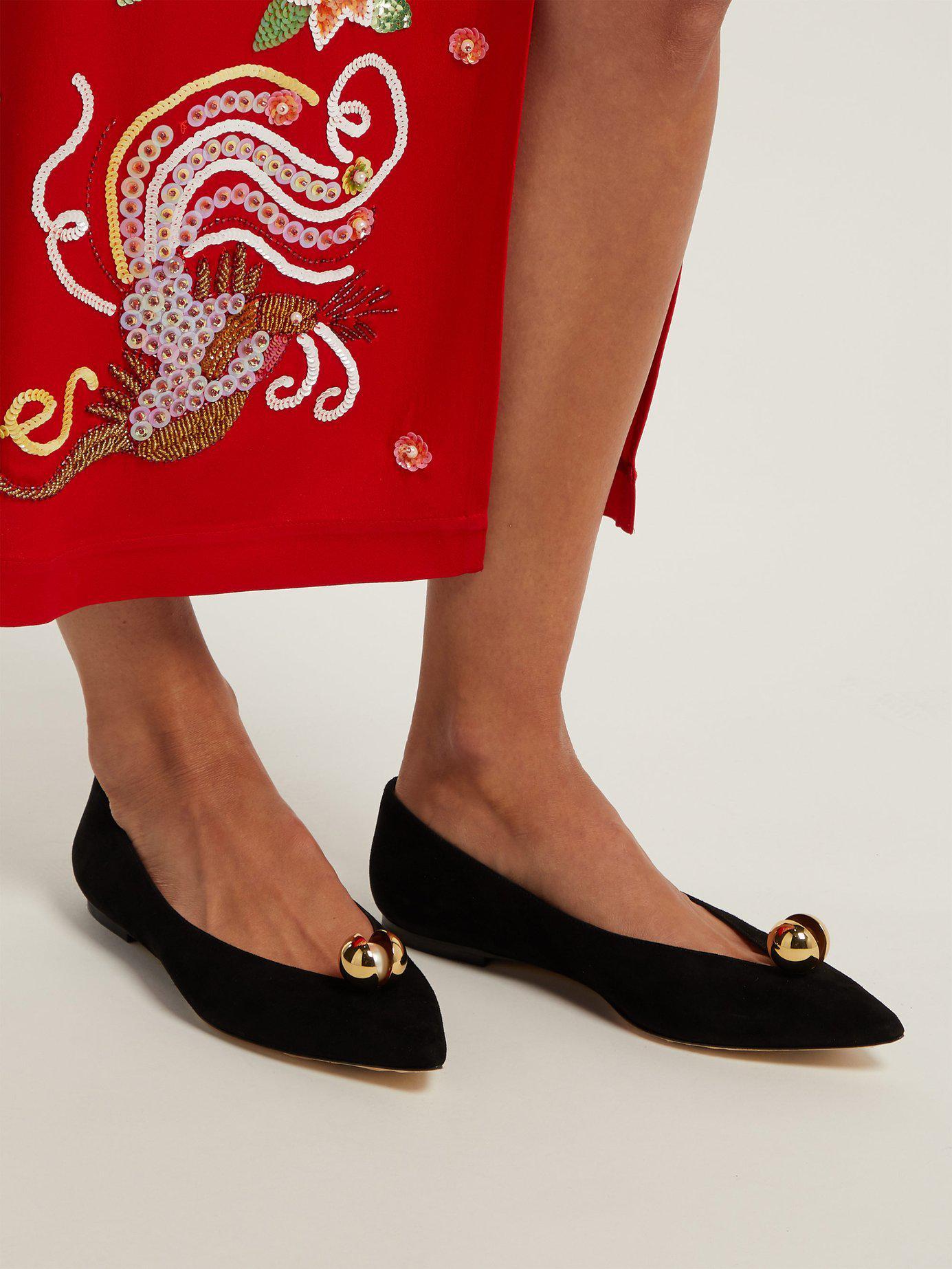 62e7dae1627 Lyst - Jimmy Choo Silvia Faux Pearl-embellished Leather Flats in Black
