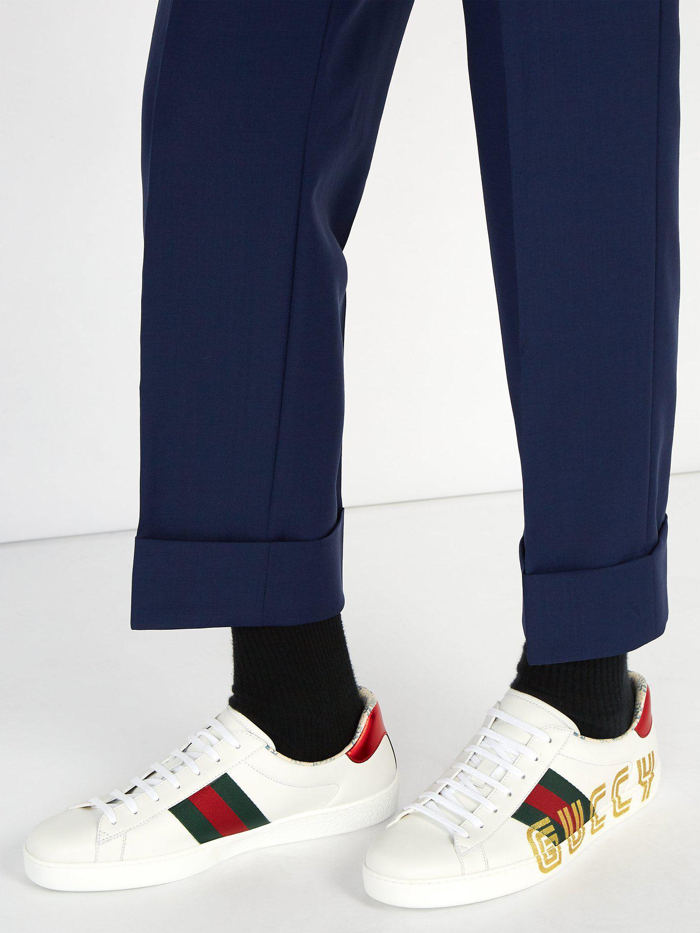 ced37379a36 Gucci New Ace Glitter Embellished Leather Trainers for Men - Lyst