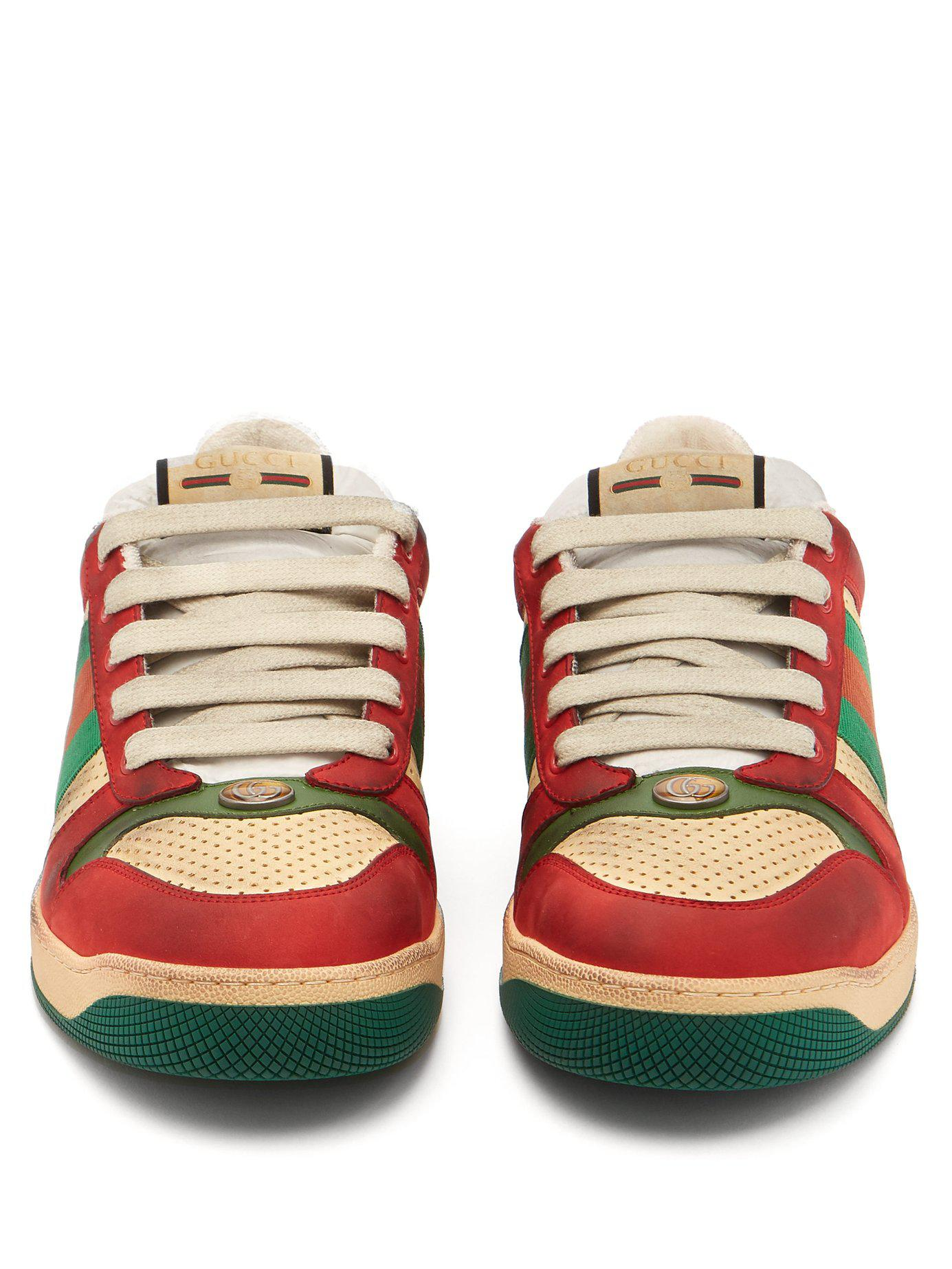 35dc70dd6c3 Gucci - Multicolor Virtus Low Top Distressed Leather Trainers for Men -  Lyst. View fullscreen