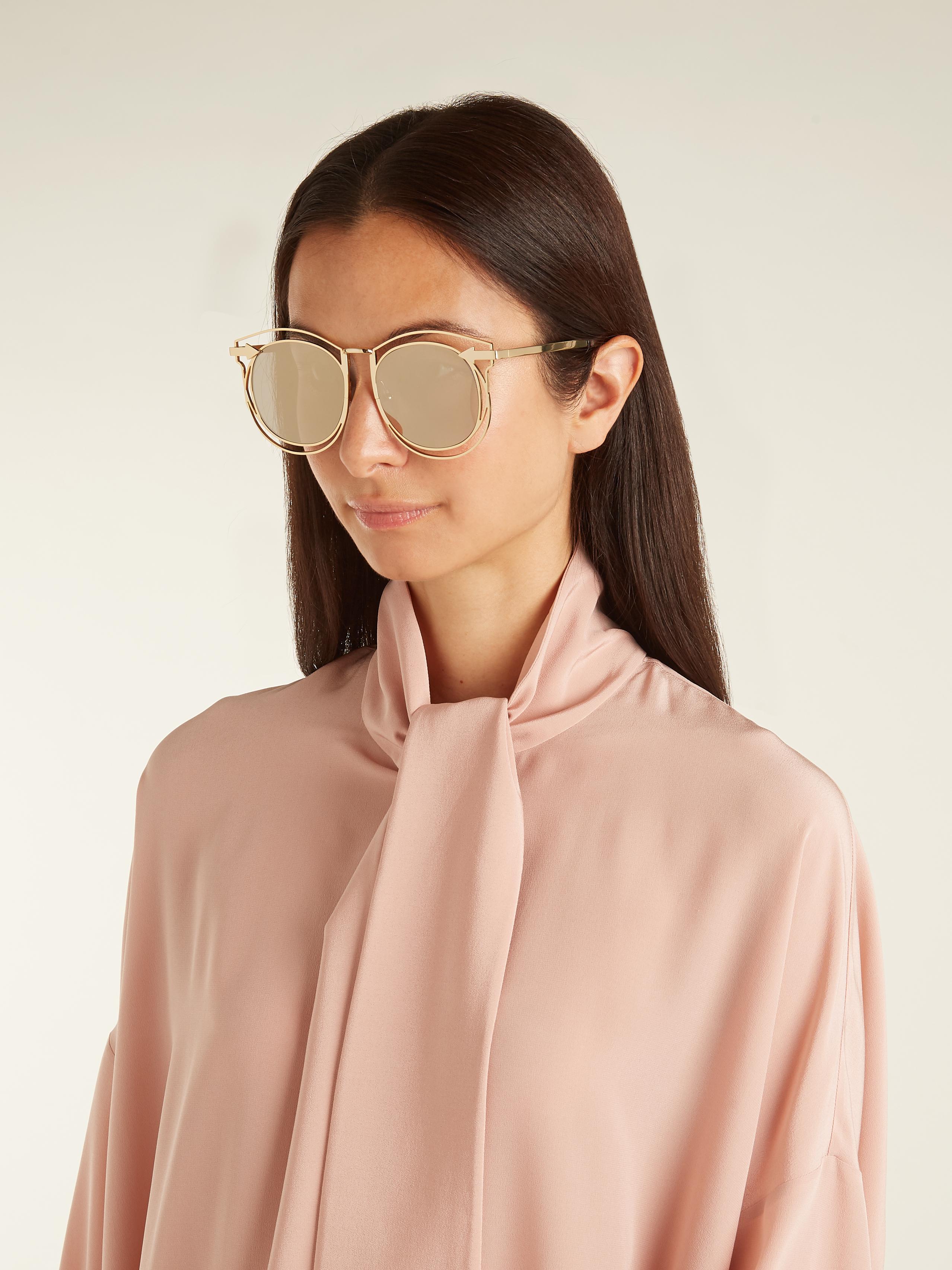 ad008d2f1db9d Karen Walker Simone Round-frame Sunglasses in Metallic - Lyst