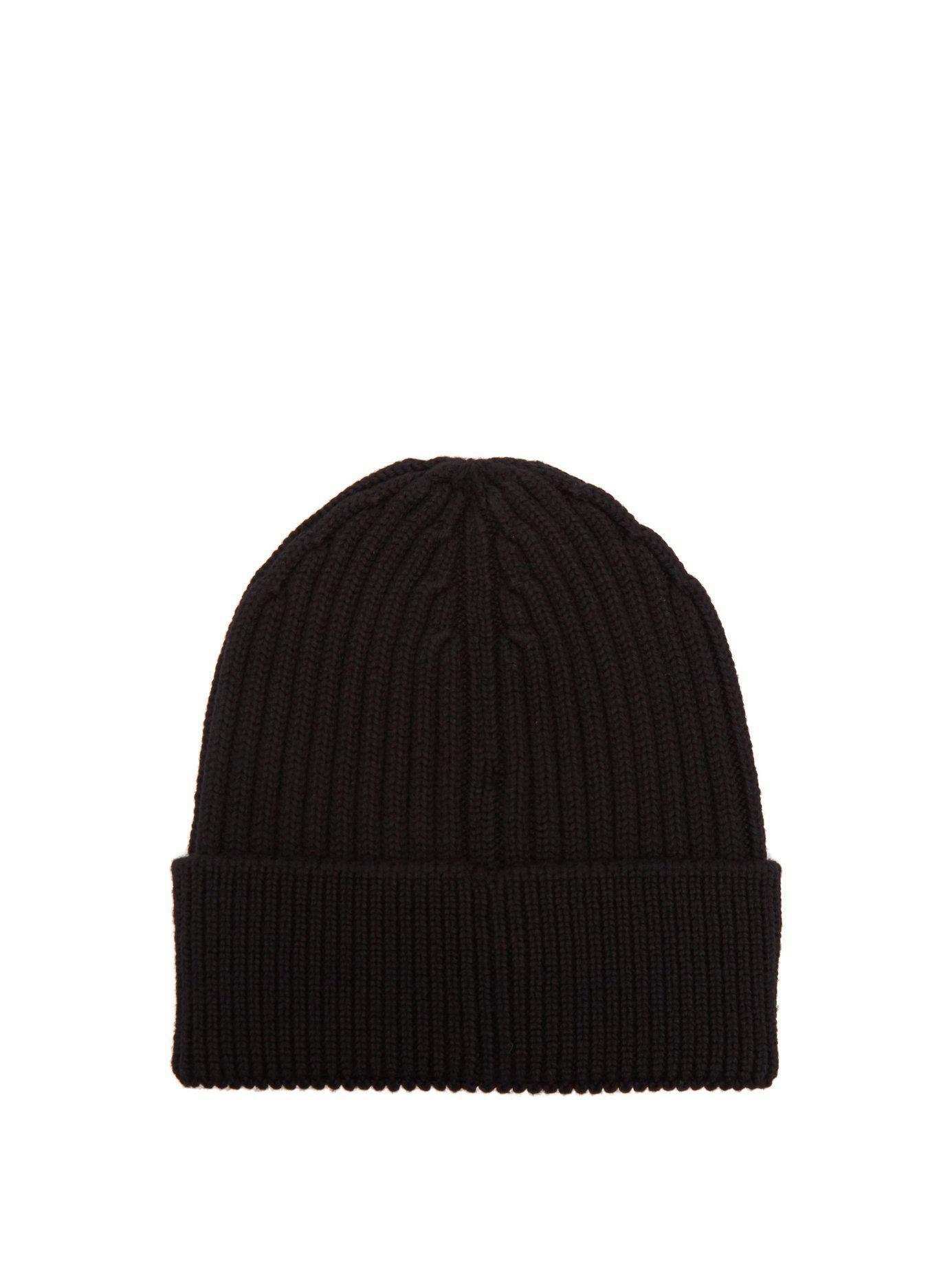 13388323734eb Moncler Grenoble - Black Logo Virgin Wool Beanie Hat for Men - Lyst. View  fullscreen
