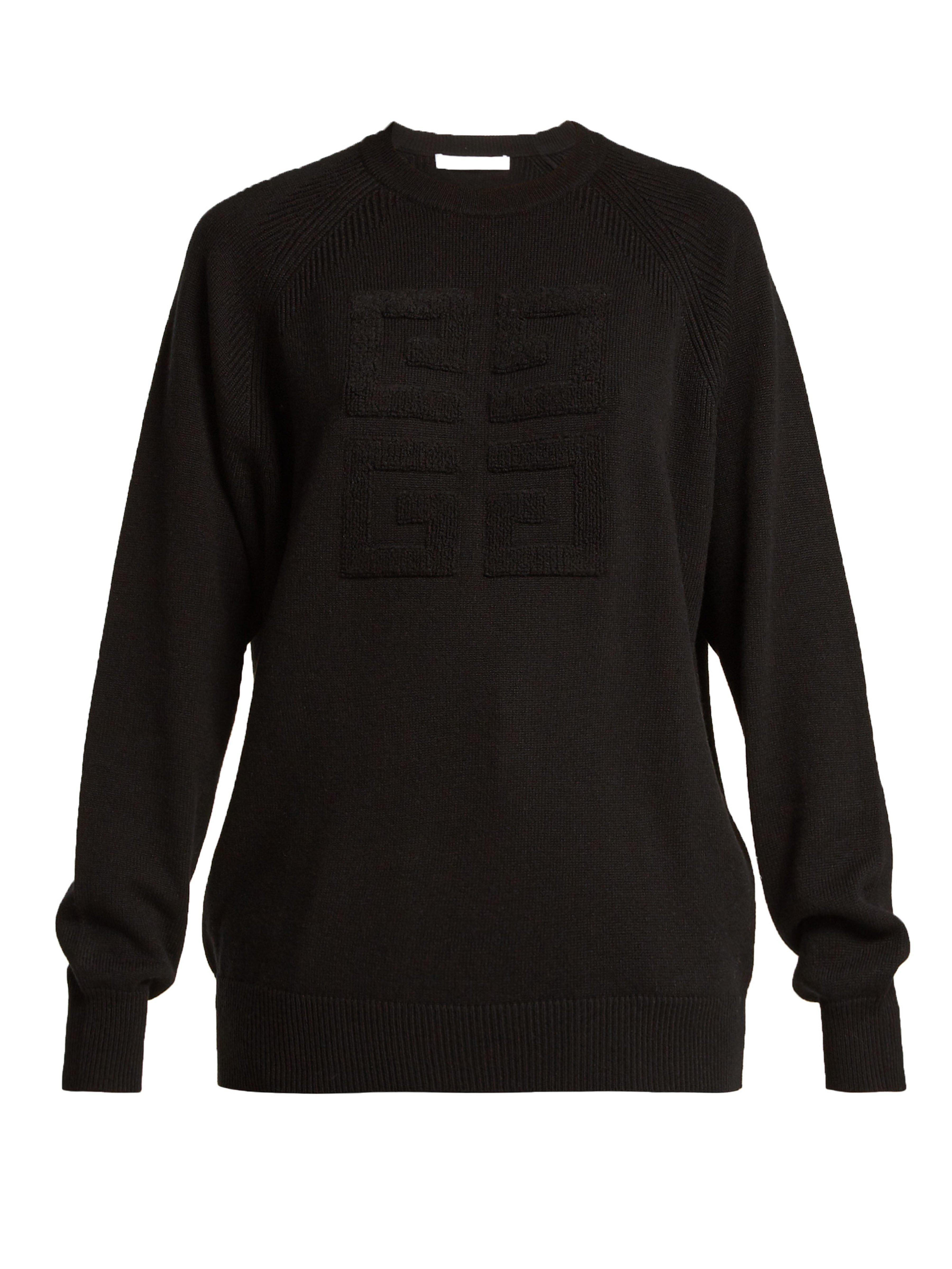 Cousu Cachemire Logo Lyst Pull À En Givenchy Noir Coloris 8nwvmN0