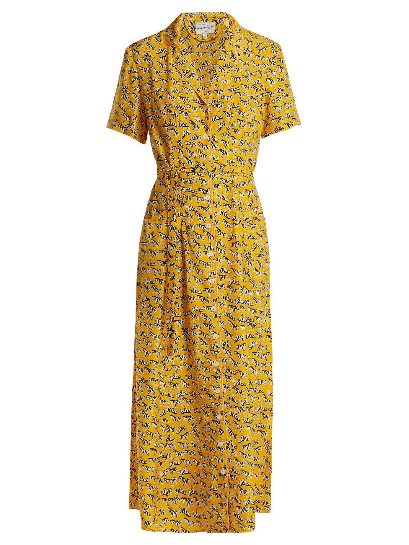 f38c24faee Lyst - HVN Long Maria Zebra-print Silk Dress in Yellow