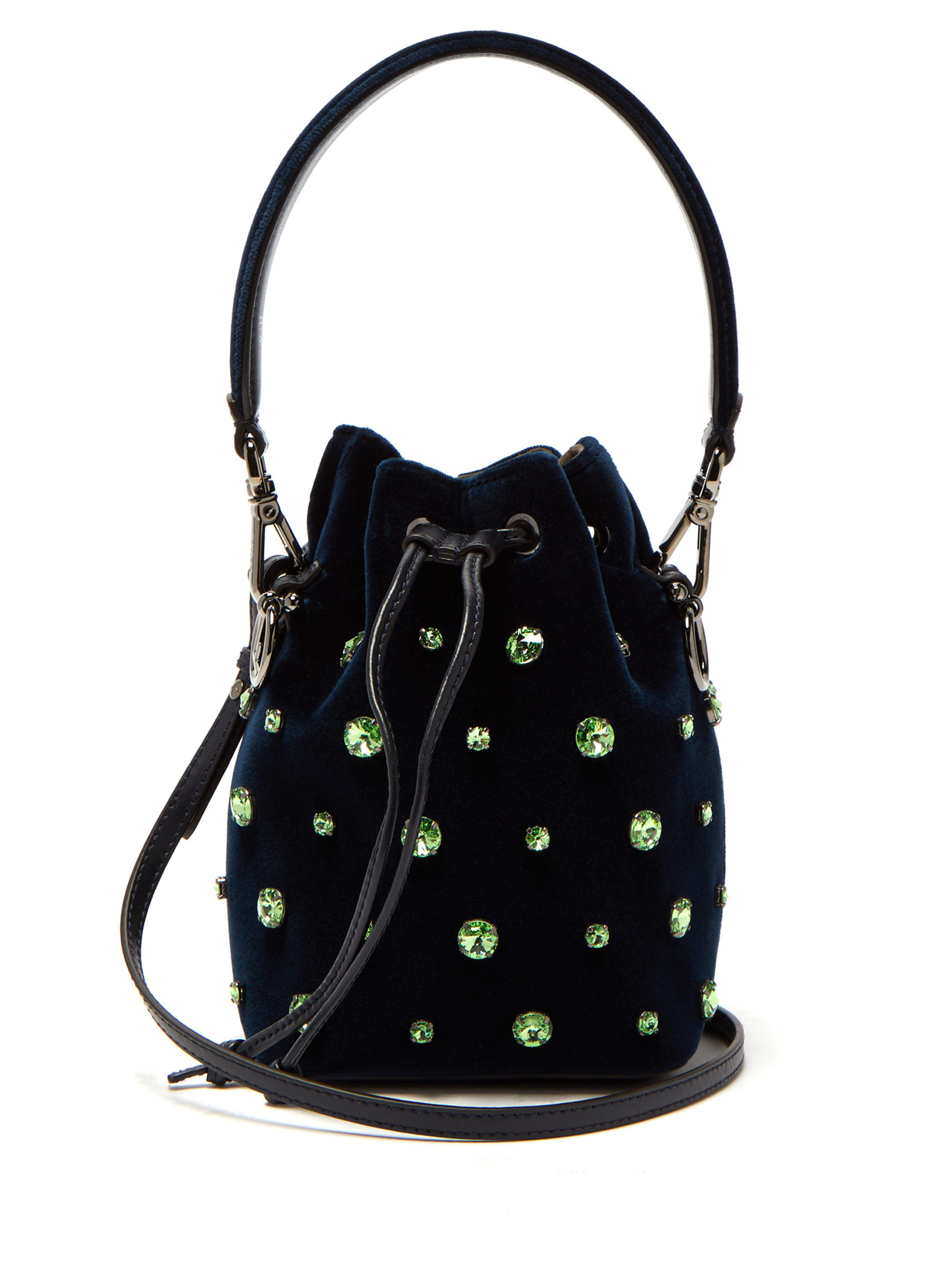3117d89cf71f Fendi Mon Tresor Crystal Embellished Velvet Bucket Bag in Blue - Lyst