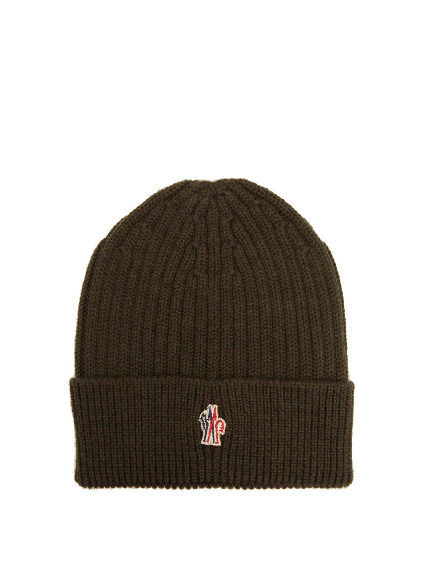Lyst - Moncler Grenoble Logo Embroidered Wool Beanie Hat for Men 8ad3739ffeaa