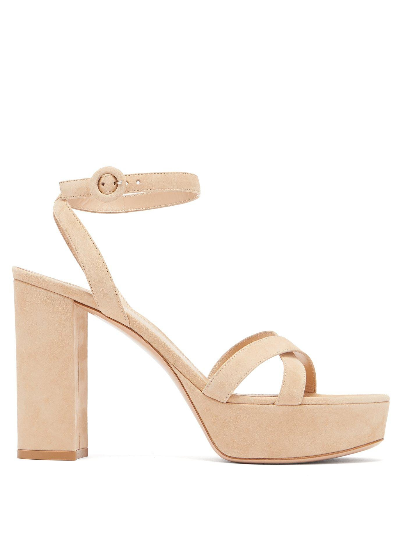 fbc18591db4 Lyst - Gianvito Rossi Poppy 100 Suede Platform Sandals in Natural