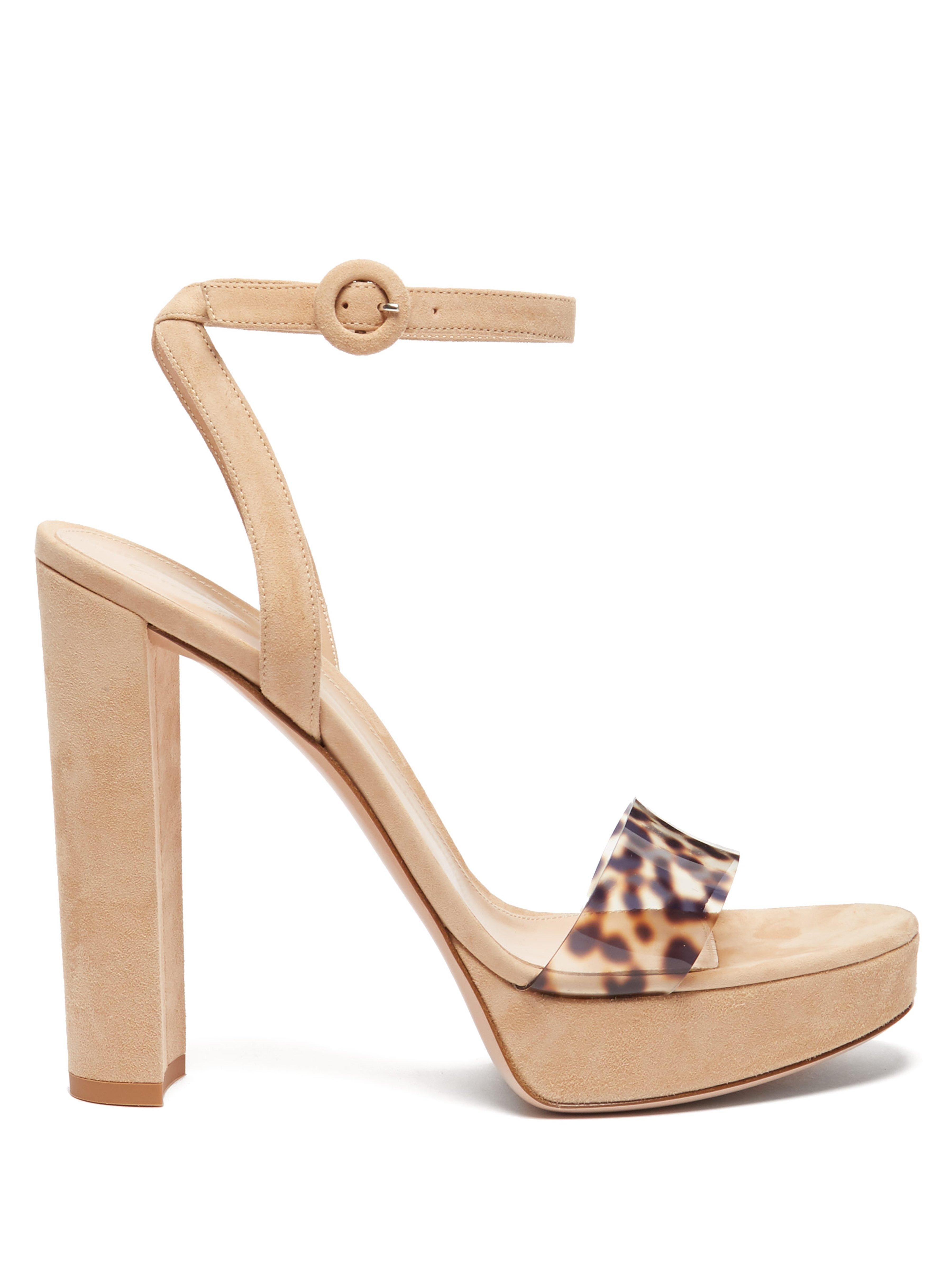 26a02750a88 Gianvito Rossi. Women s Natural Plexi 100 Leopard Strap Platform Sandals