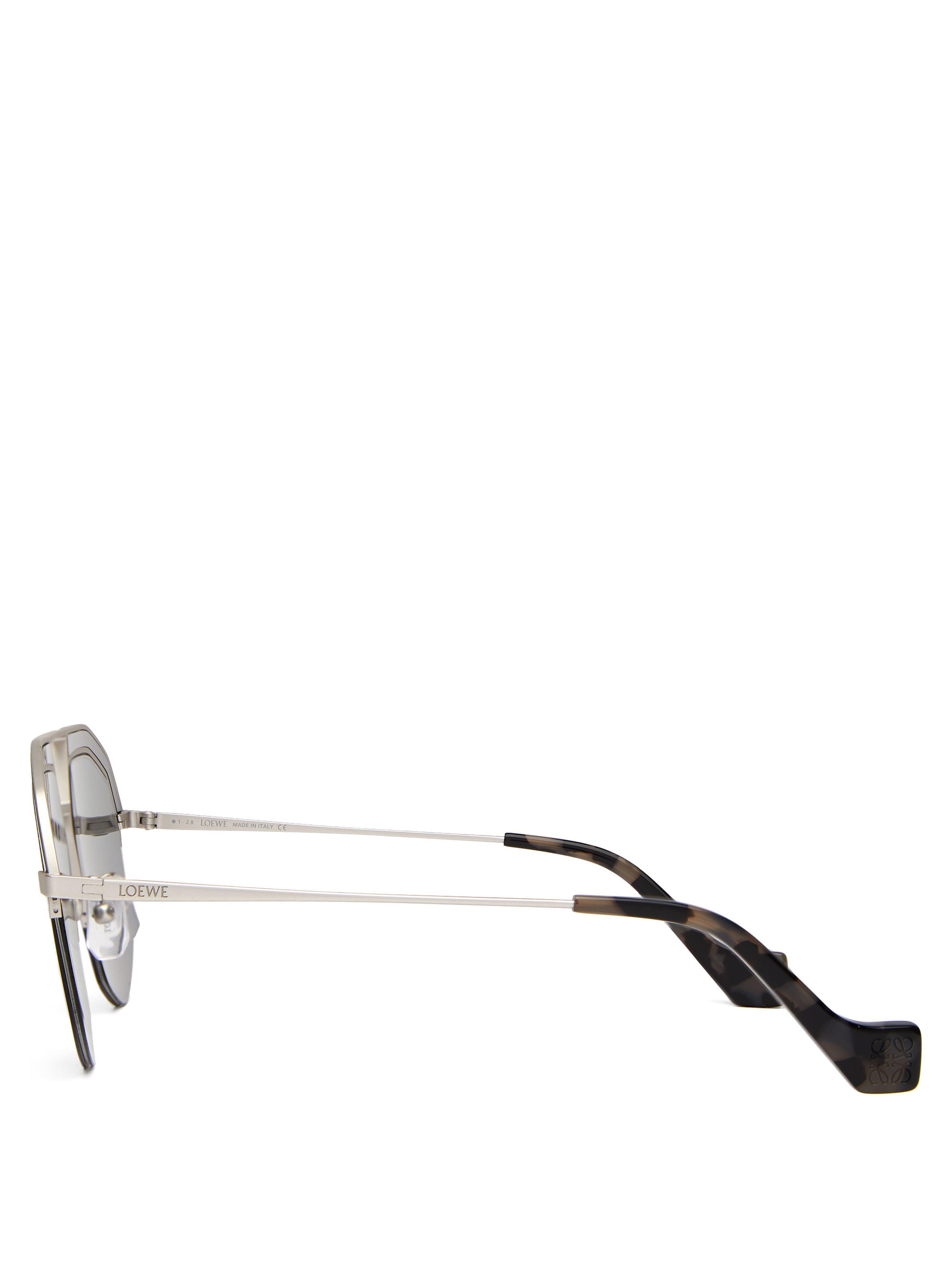 0aafe80b4f Loewe - Metallic Geometrical Aviator Metal Sunglasses - Lyst. View  fullscreen