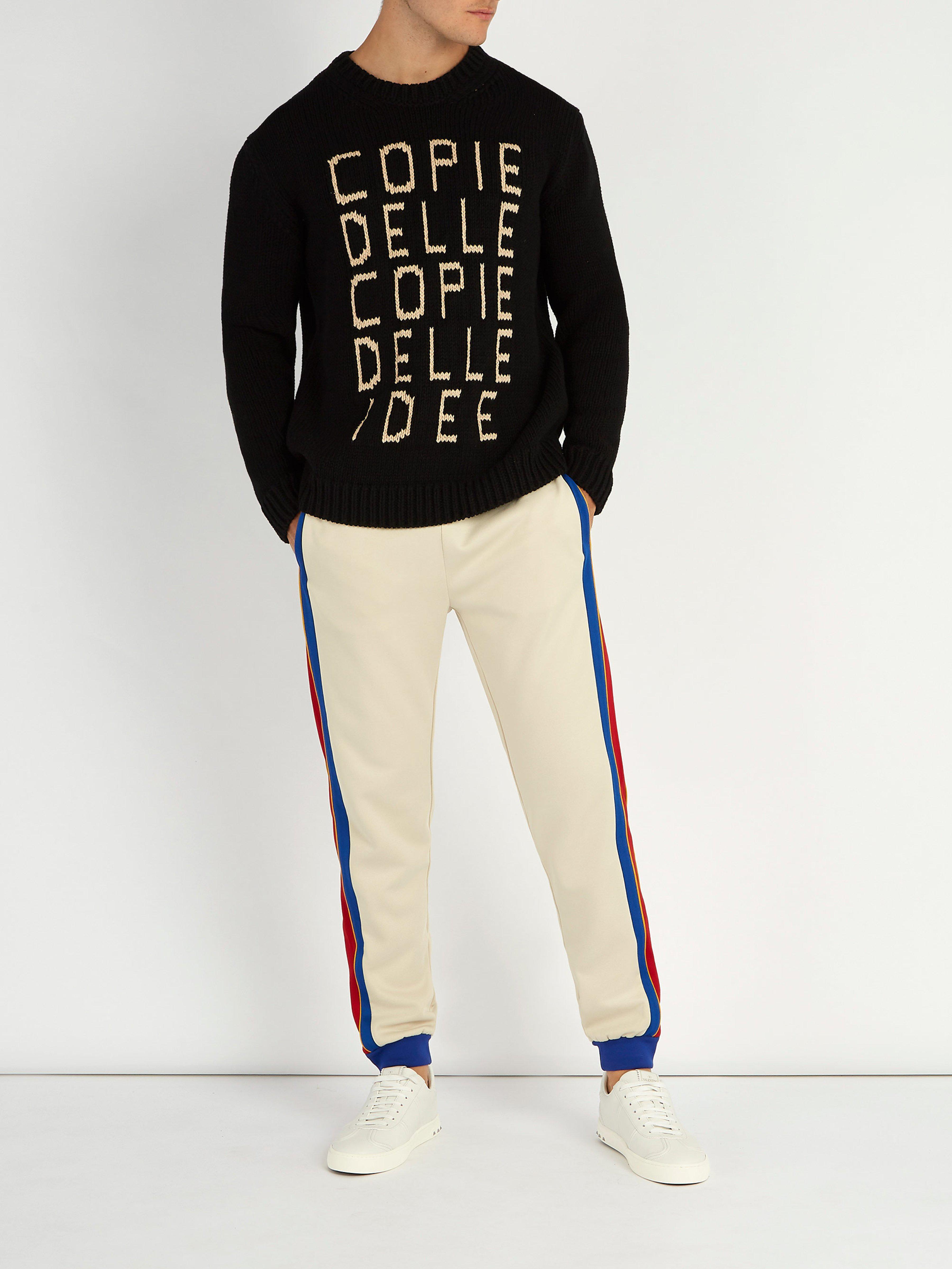 Lyst - Pull à slogan intarsia Gucci pour homme en coloris Noir 328ae852d64