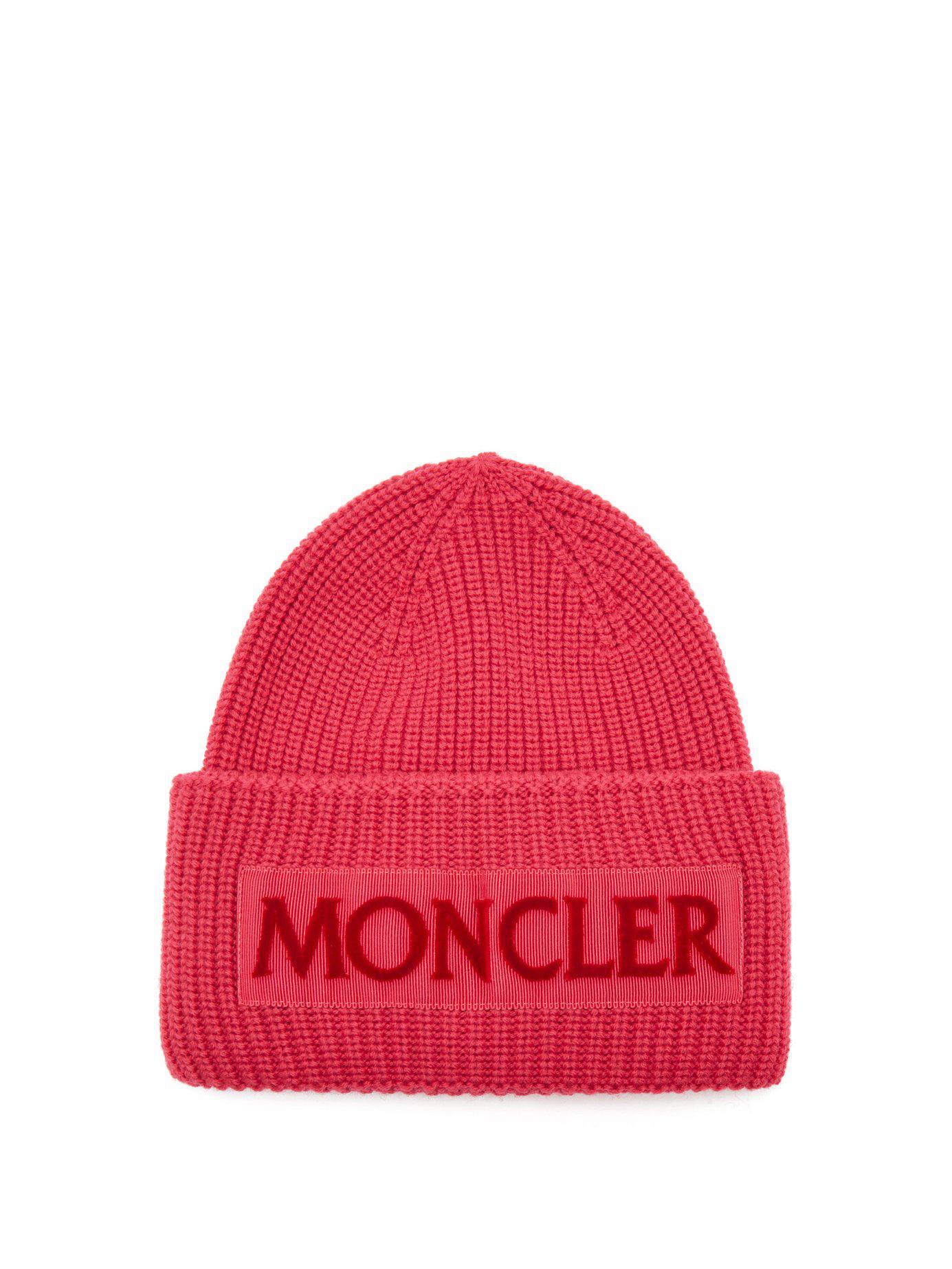 3fbfd6fe718 ... new list d13f2 ec0e3 Moncler - Pink Velvet Logo Wool Beanie Hat - Lyst.