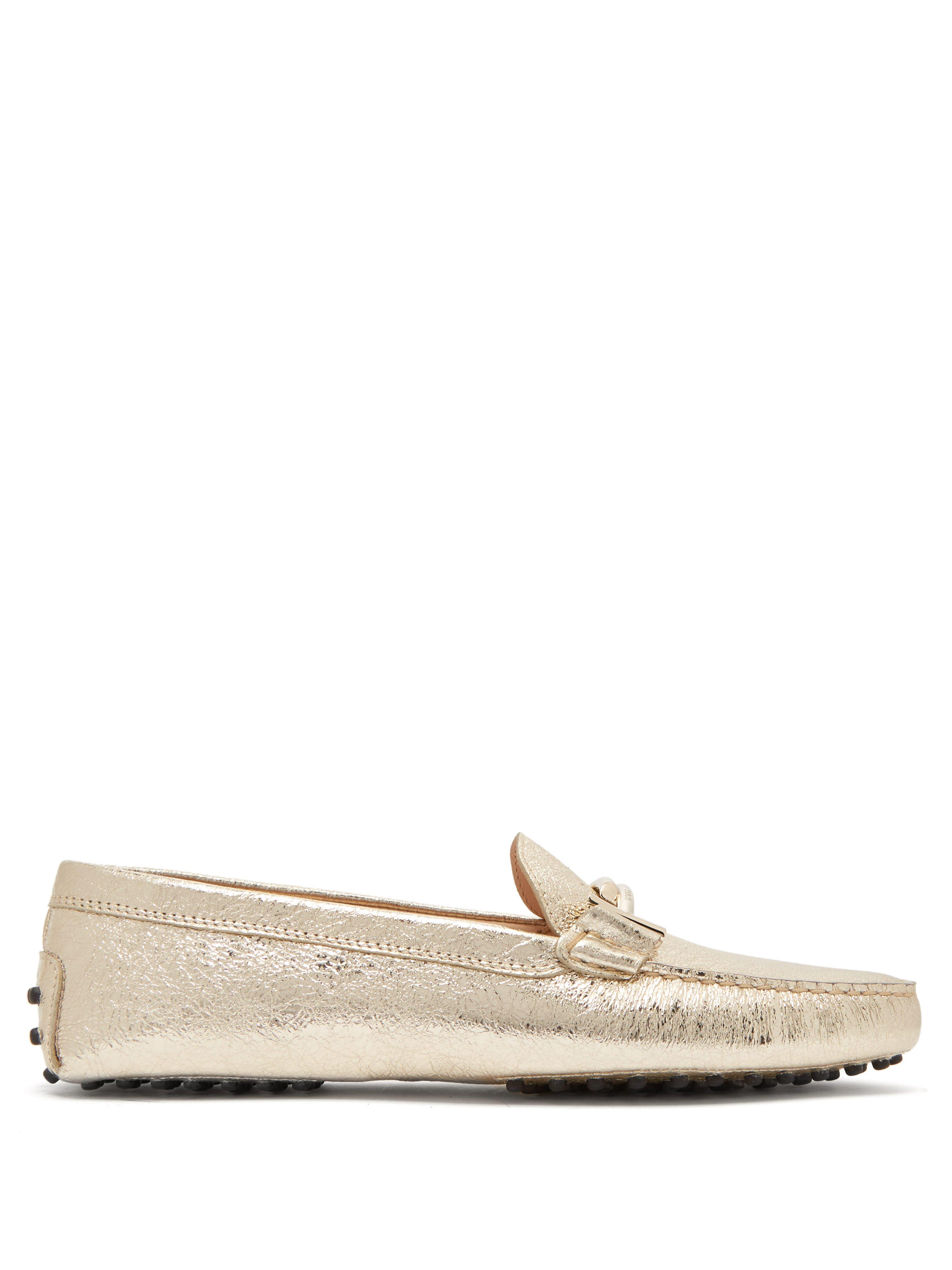 a62e8322a36 Tod s Gommini T Bar Metallic Leather Loafers in Metallic - Lyst