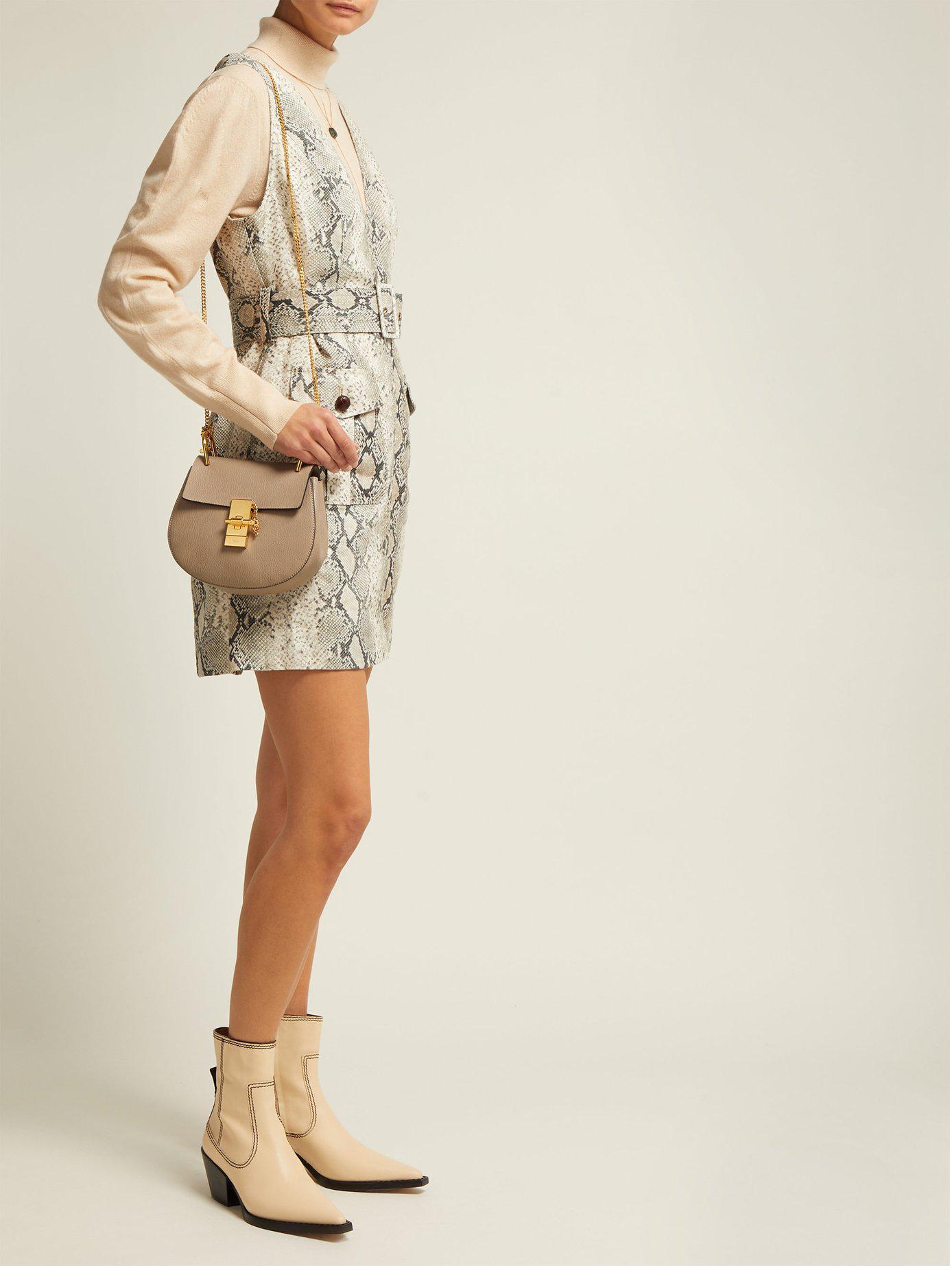 4442772e40e Lyst - Chloé Drew Mini Leather Cross Body Bag in Gray