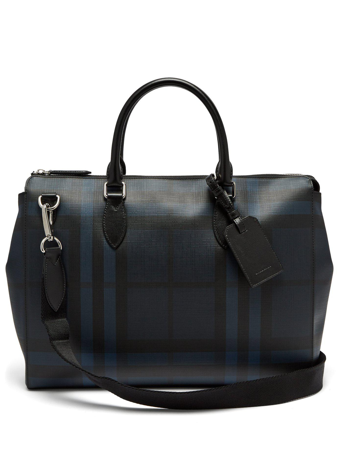 51bb332bbbf0 Lyst - Burberry London-check Leather Tote in Black