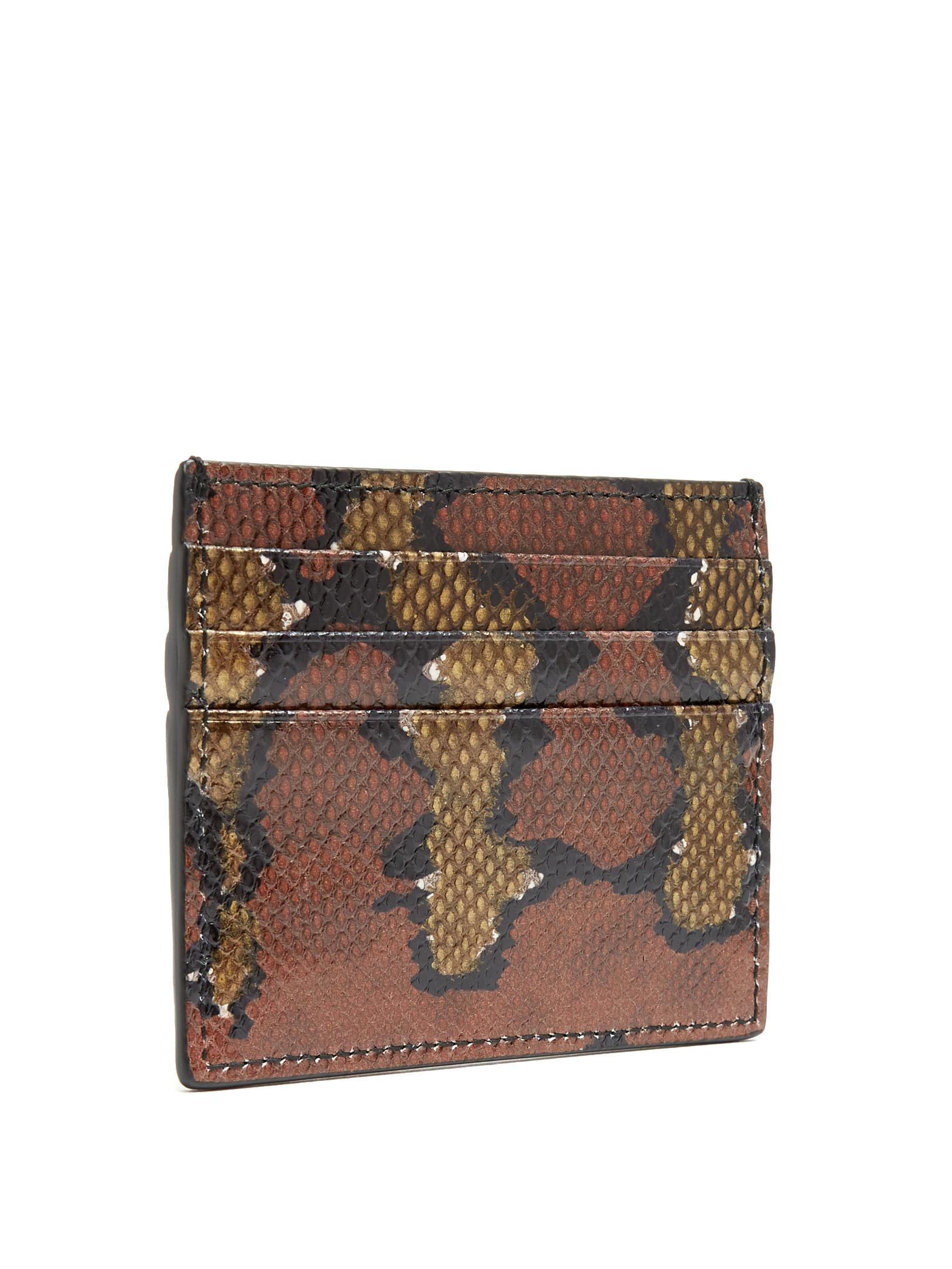 bd419cdd41e391 Bottega Veneta Watersnake Cardholder in Brown - Lyst