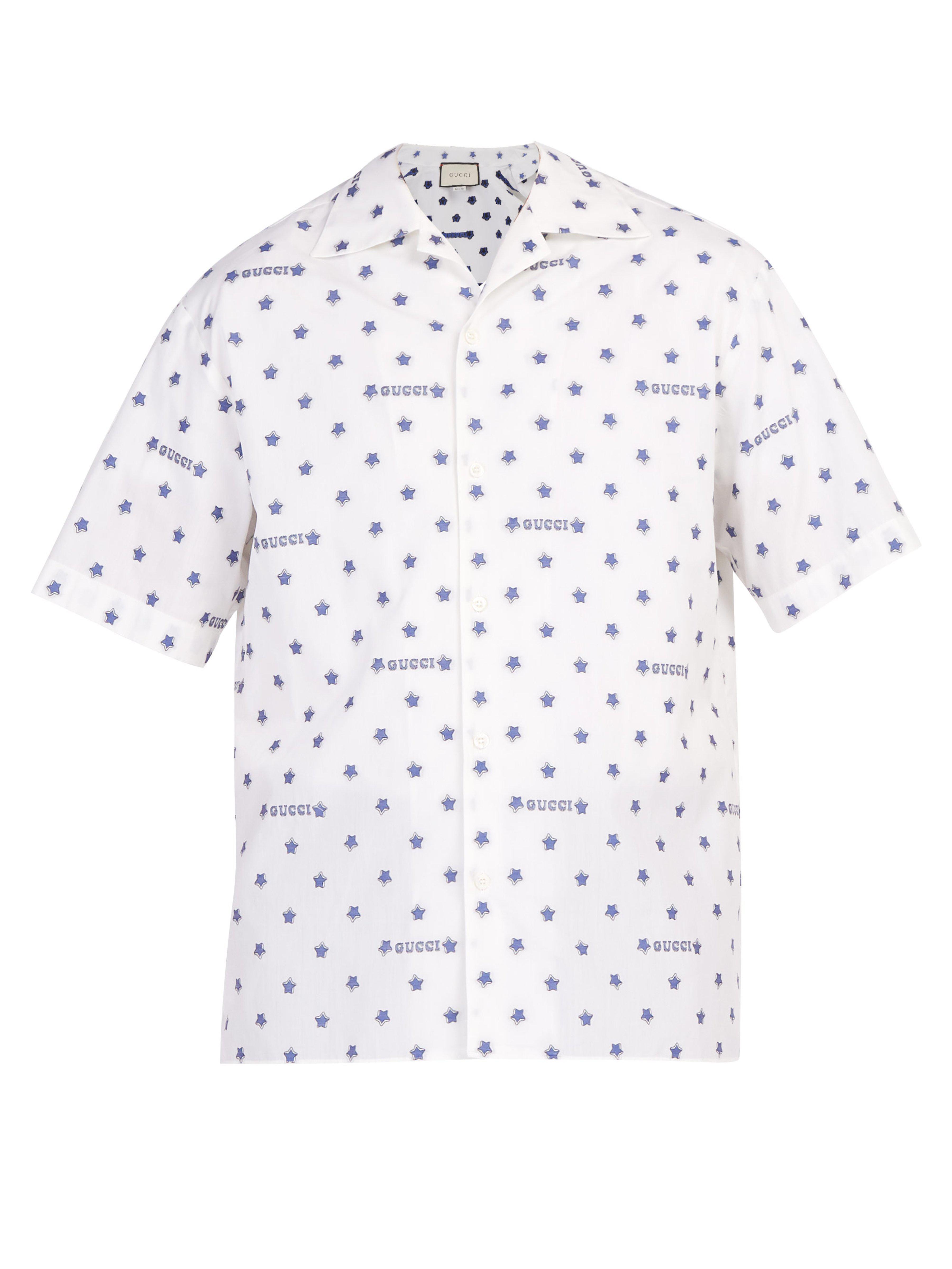 29f4cad29c19 Gucci - White Star Print Cotton Bowling Shirt for Men - Lyst. View  fullscreen