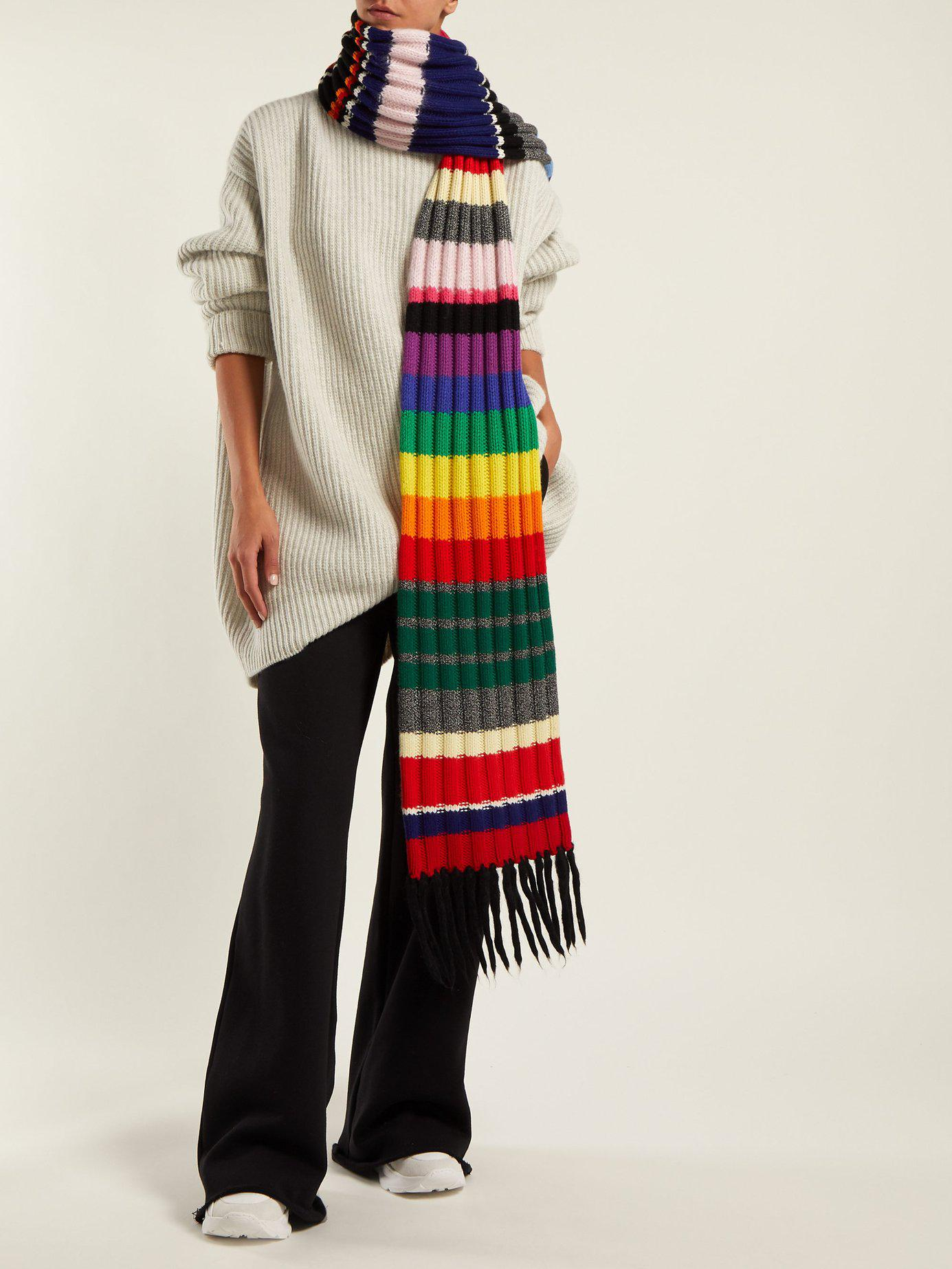 41a1a75072 Lyst - Burberry Rainbow Striped Cashmere Blend Scarf in Red