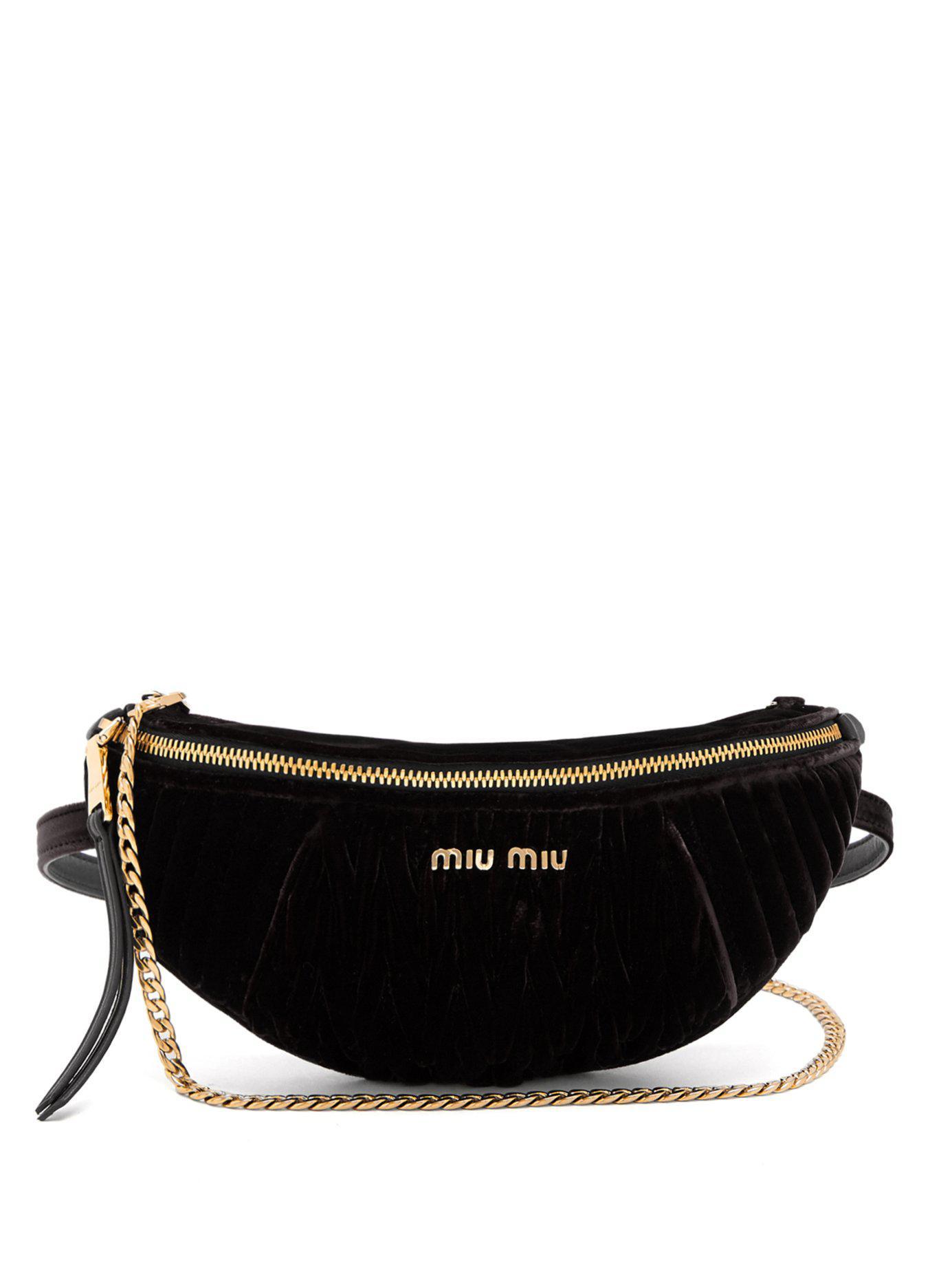 Miu Miu - Black Contrast Panel Velvet Belt Bag - Lyst. View fullscreen 65233e4478c0d