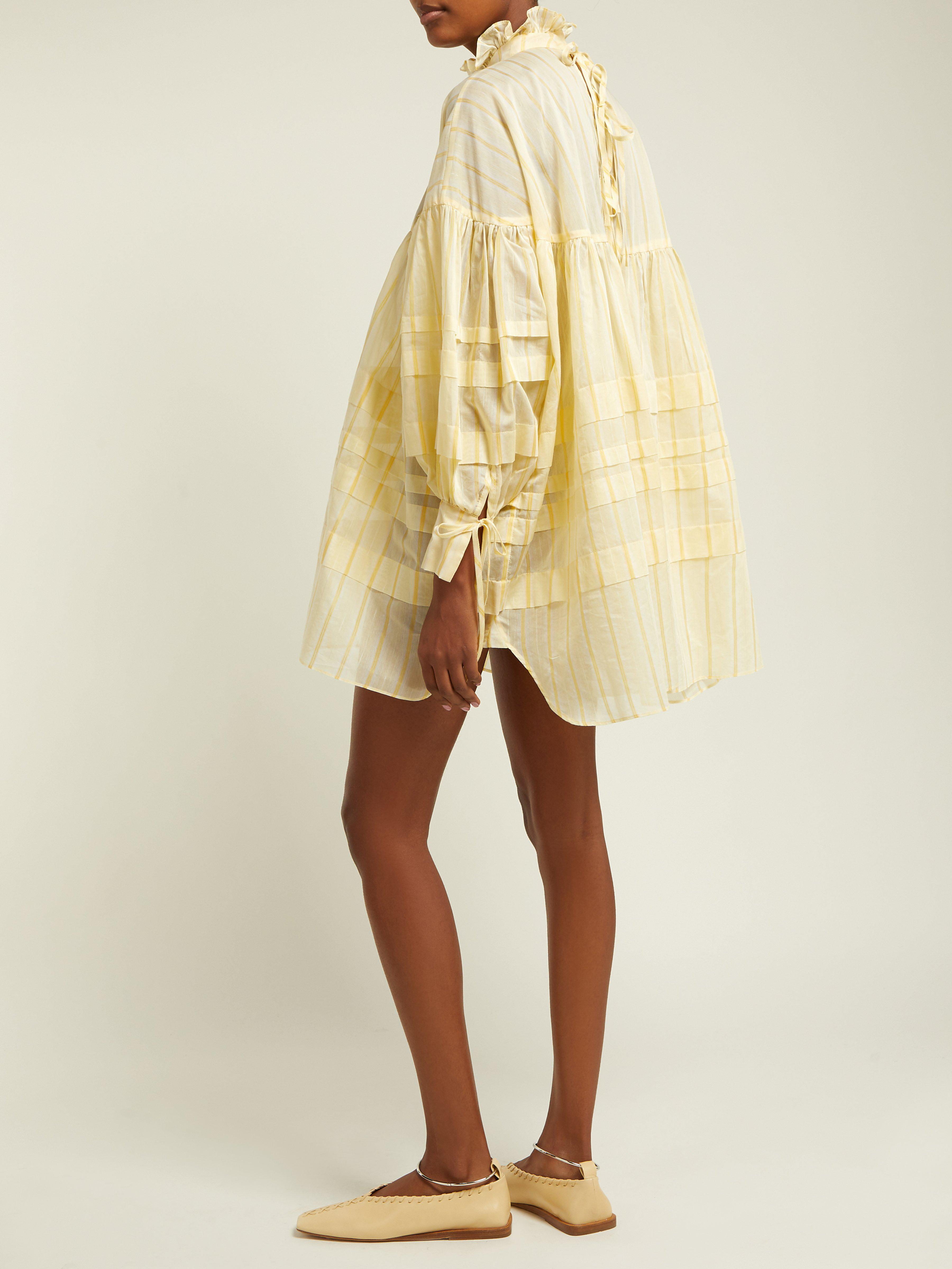 Lyst Dress Cotton Cecile Bahnsen Blend In Yellow Alberte eD2IEH9WY