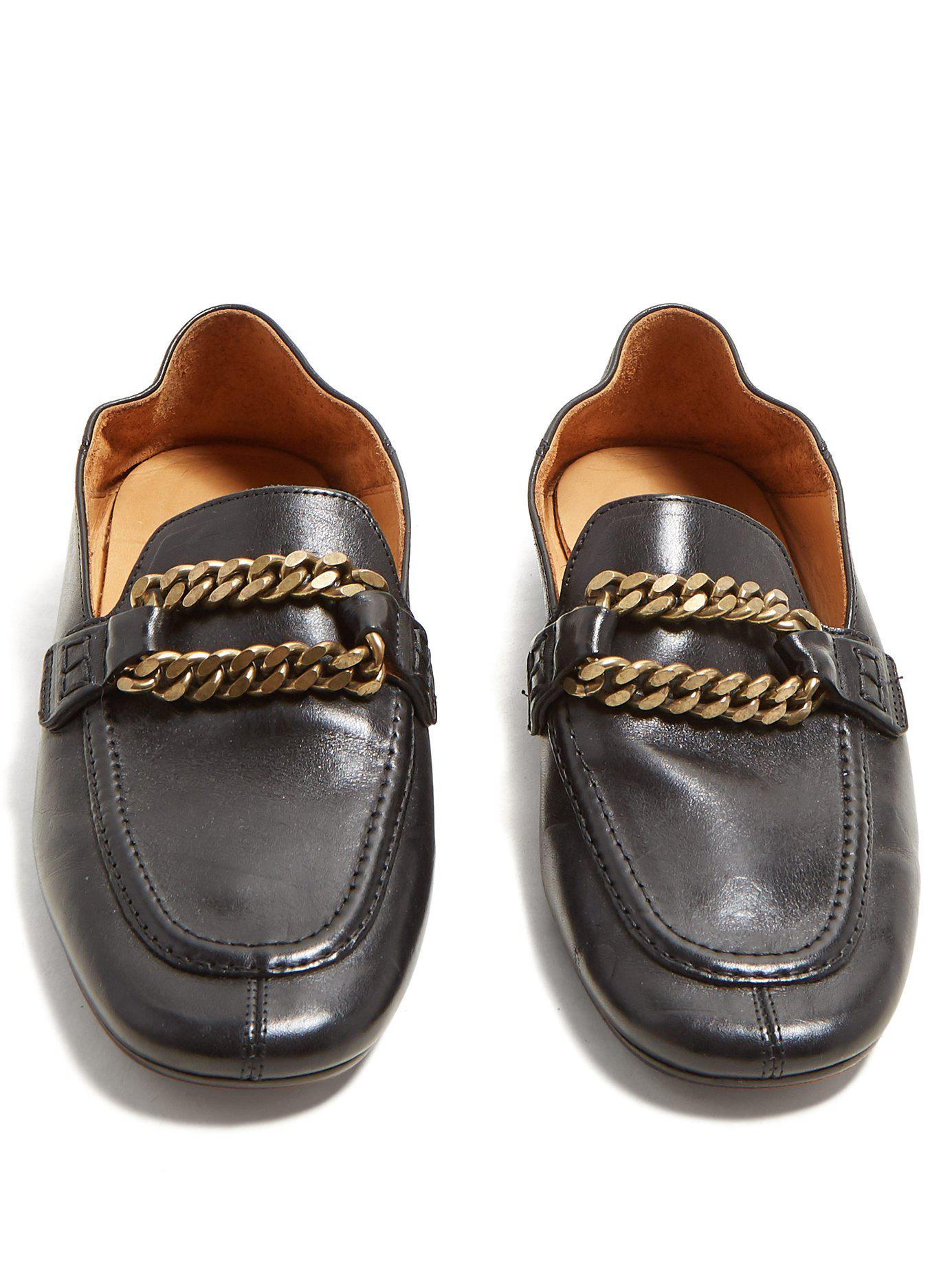 8e3aaacf723 Isabel Marant - Black Firlee Chain Trimmed Leather Loafers - Lyst. View  fullscreen