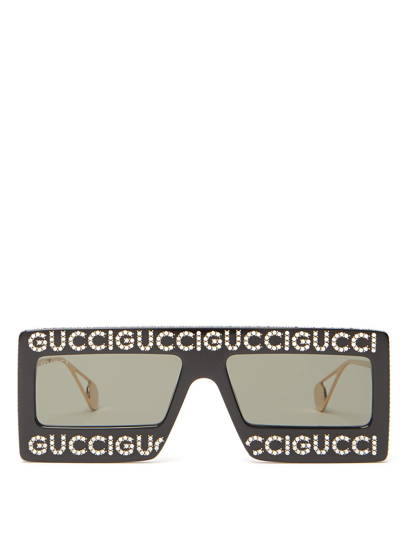60f9e8c3697 Lyst - Gucci Hollywood Forever Embellished Sunglasses in Black for Men