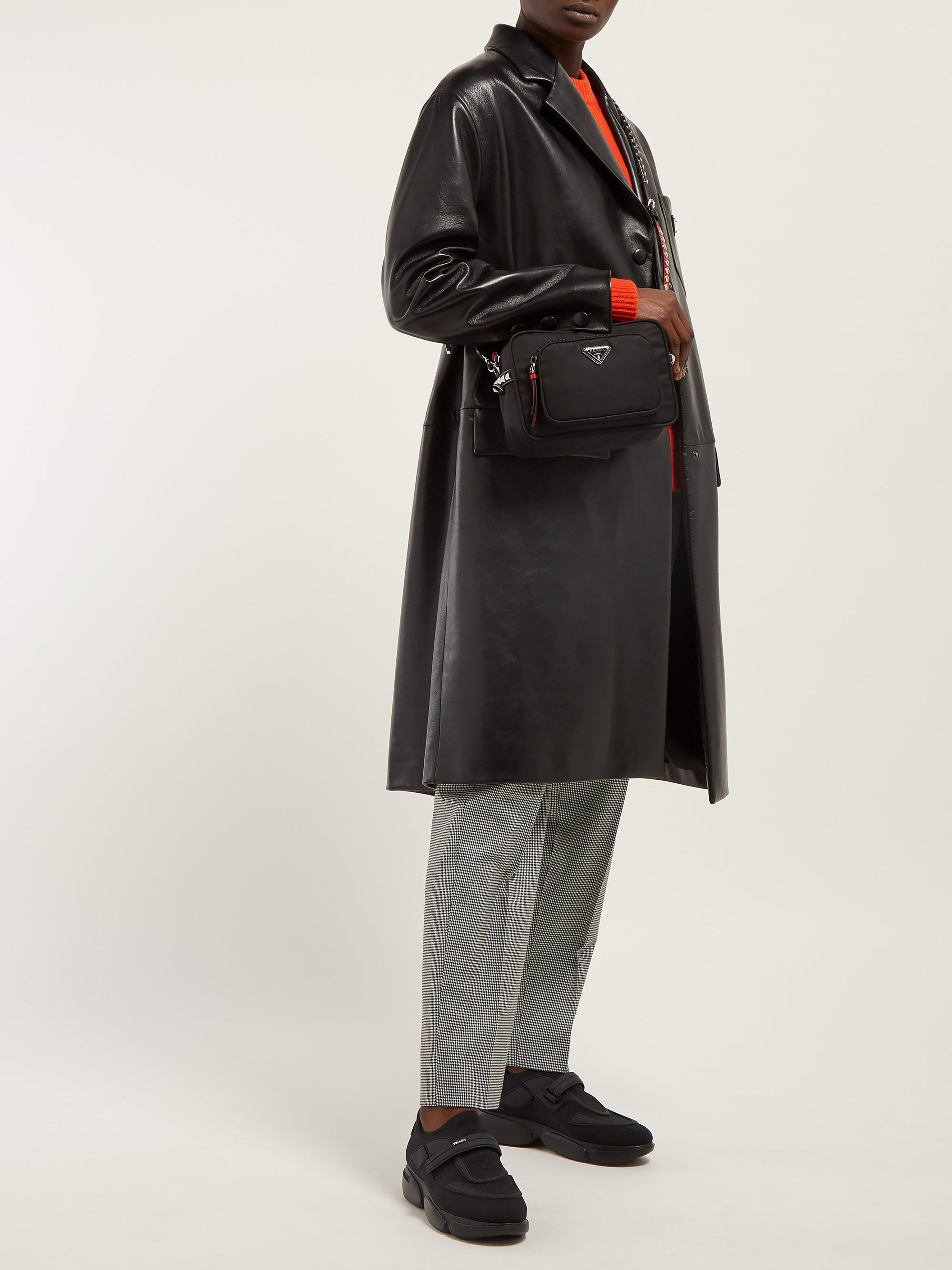 b7a76b34dac6 Prada - Black New Vela Mini Studded Nylon Cross Body Bag - Lyst. View  fullscreen