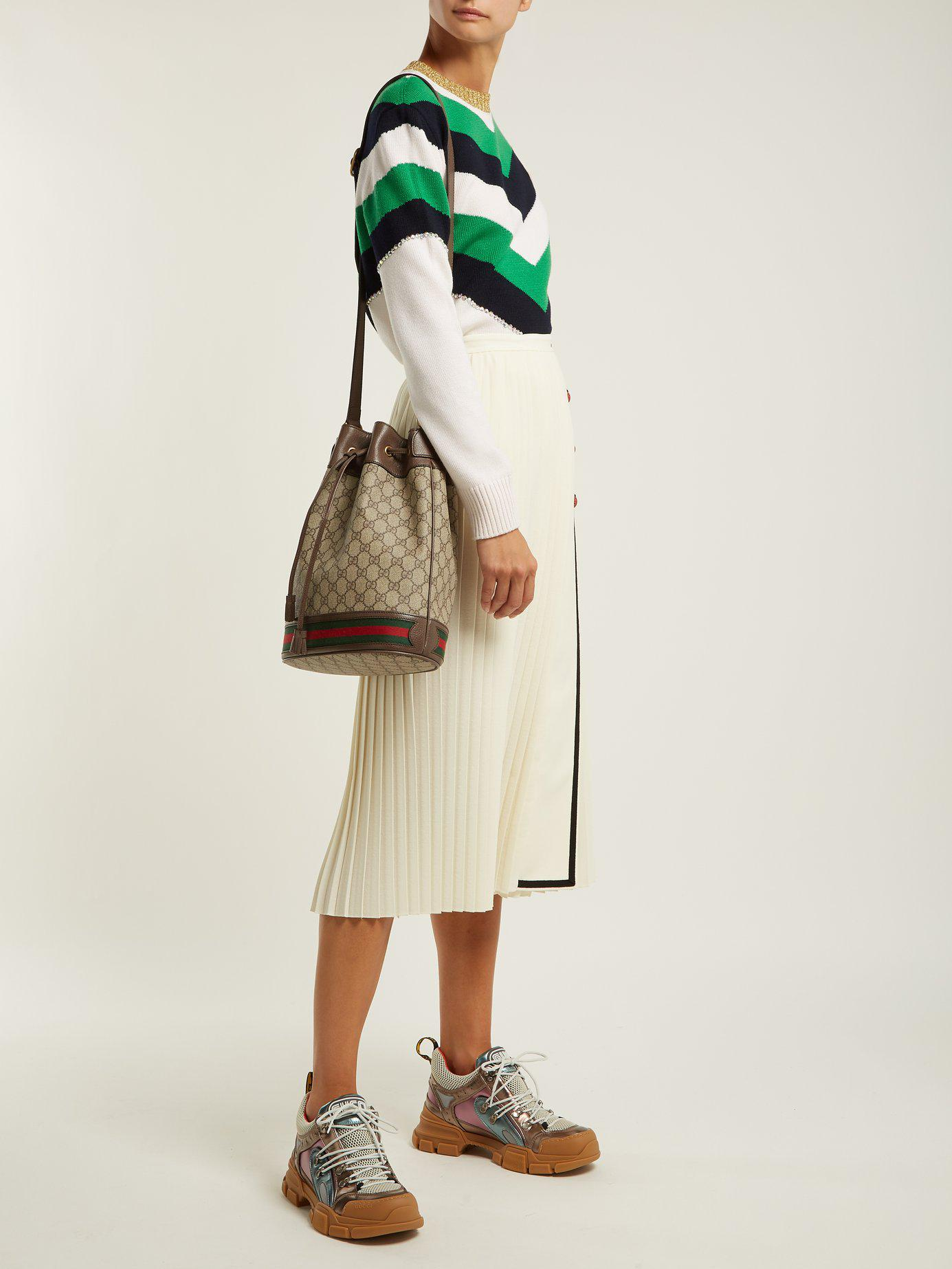135108efc48c Lyst - Gucci Ophidia Gg Supreme Leather Bucket Bag in Brown