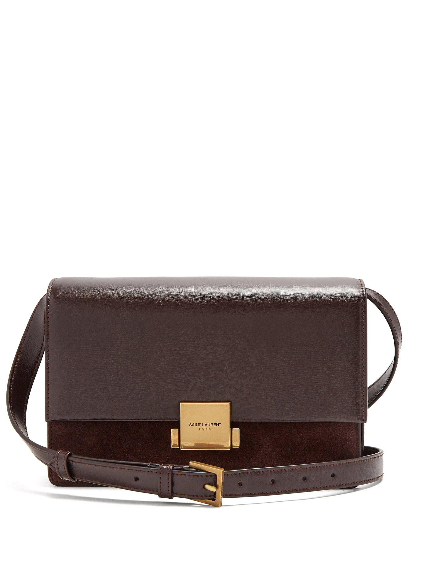 1879650a8934 Lyst - Saint Laurent Bellechasse Medium Leather And Suede Bag in Brown