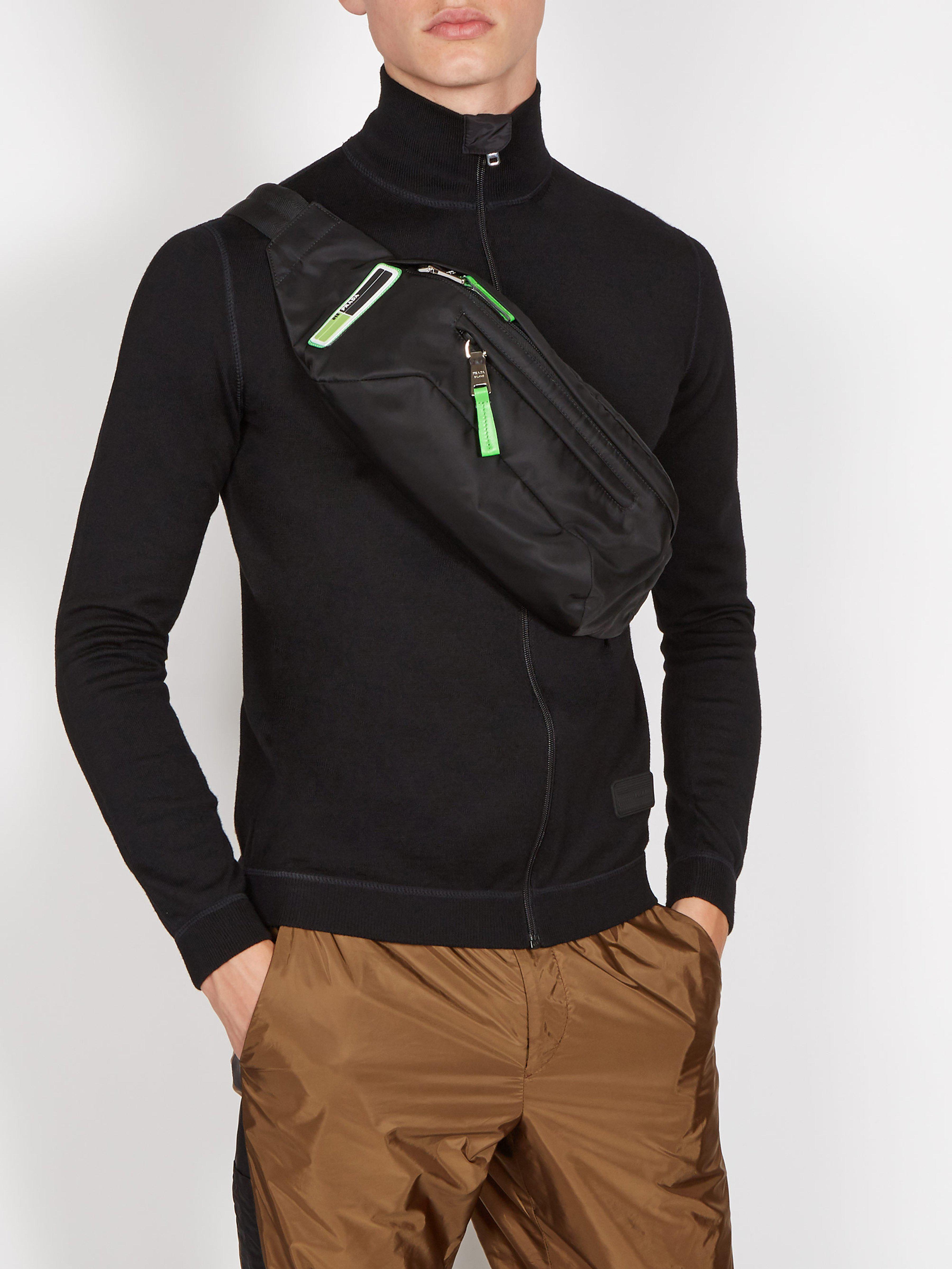 0f02bfd6cb8 Prada - Black Logo Nylon Belt Bag for Men - Lyst. View fullscreen