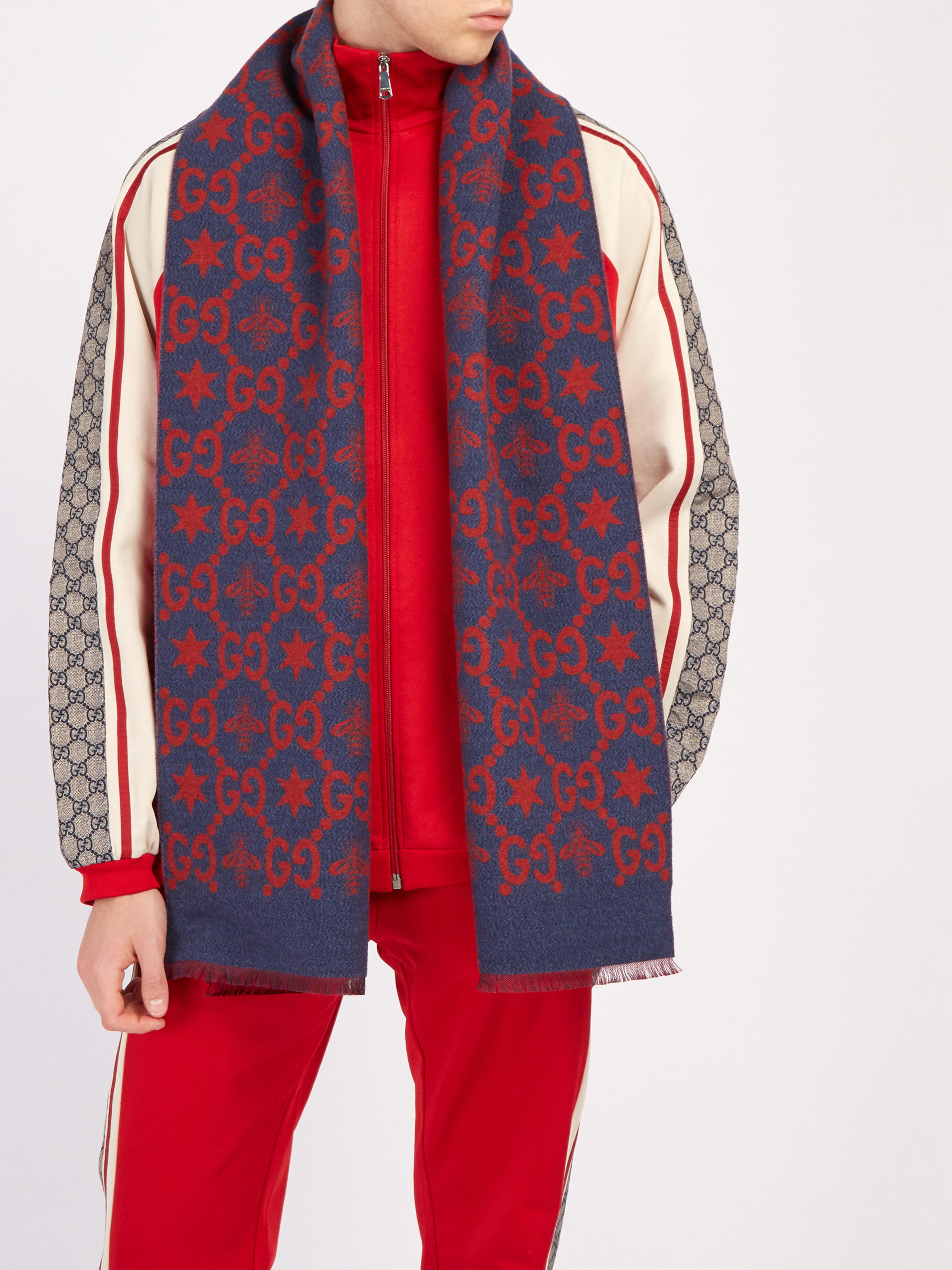 4a23e794cda05 Gucci Gg Logo Intarsia Wool Blend Scarf in Blue for Men - Lyst