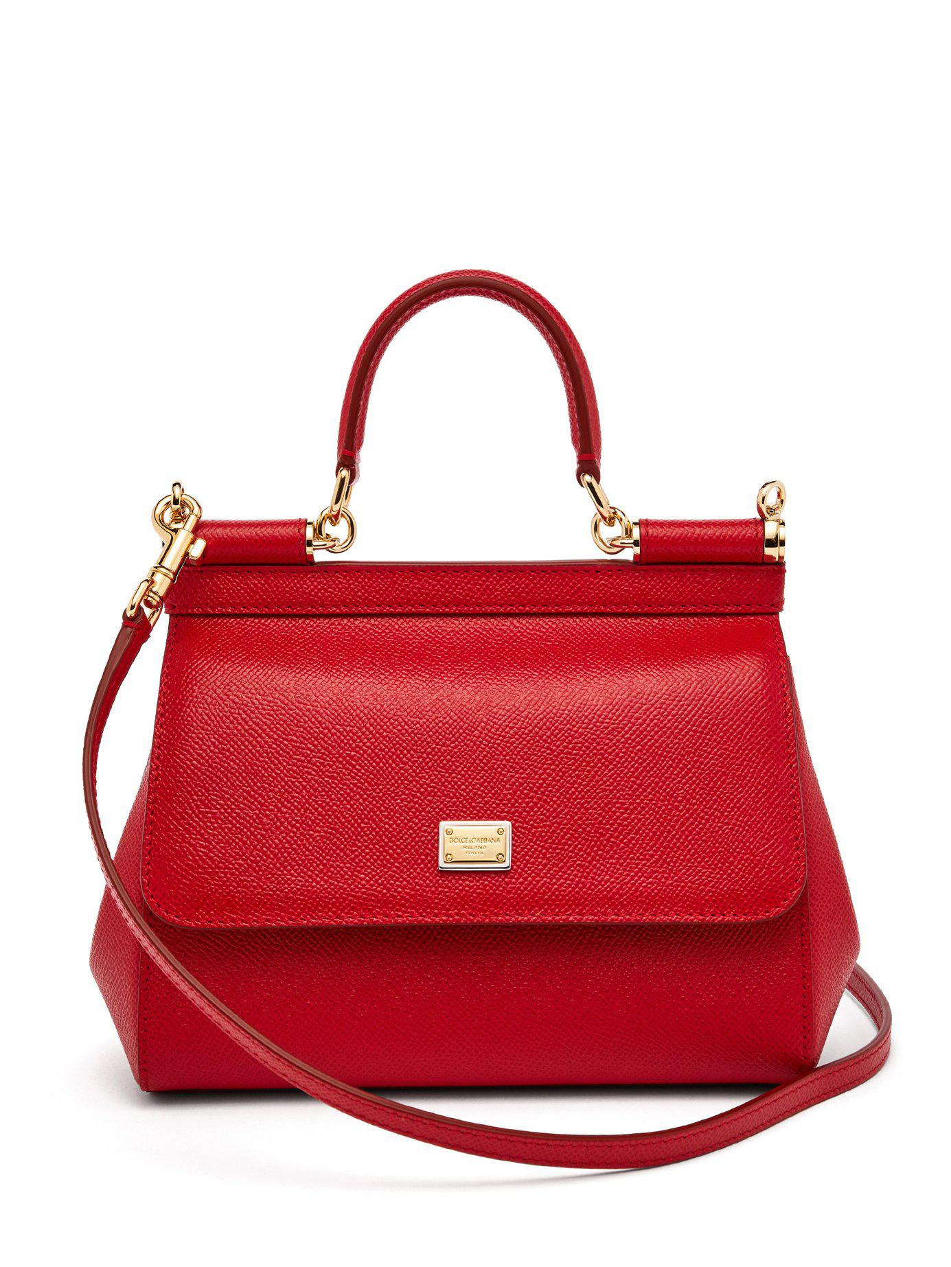 Lyst - Dolce   Gabbana Sicily Small Dauphine Leather Bag in Red f9bcd5256f