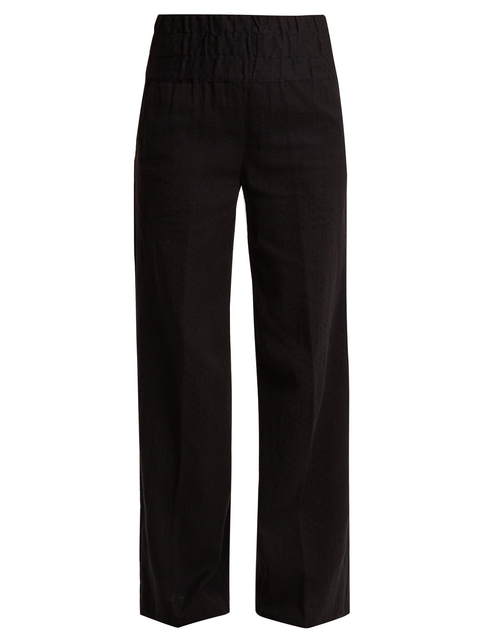 Wide-leg scarf-jacquard cotton trousers Cecilie Copenhagen zhwlo5QJ