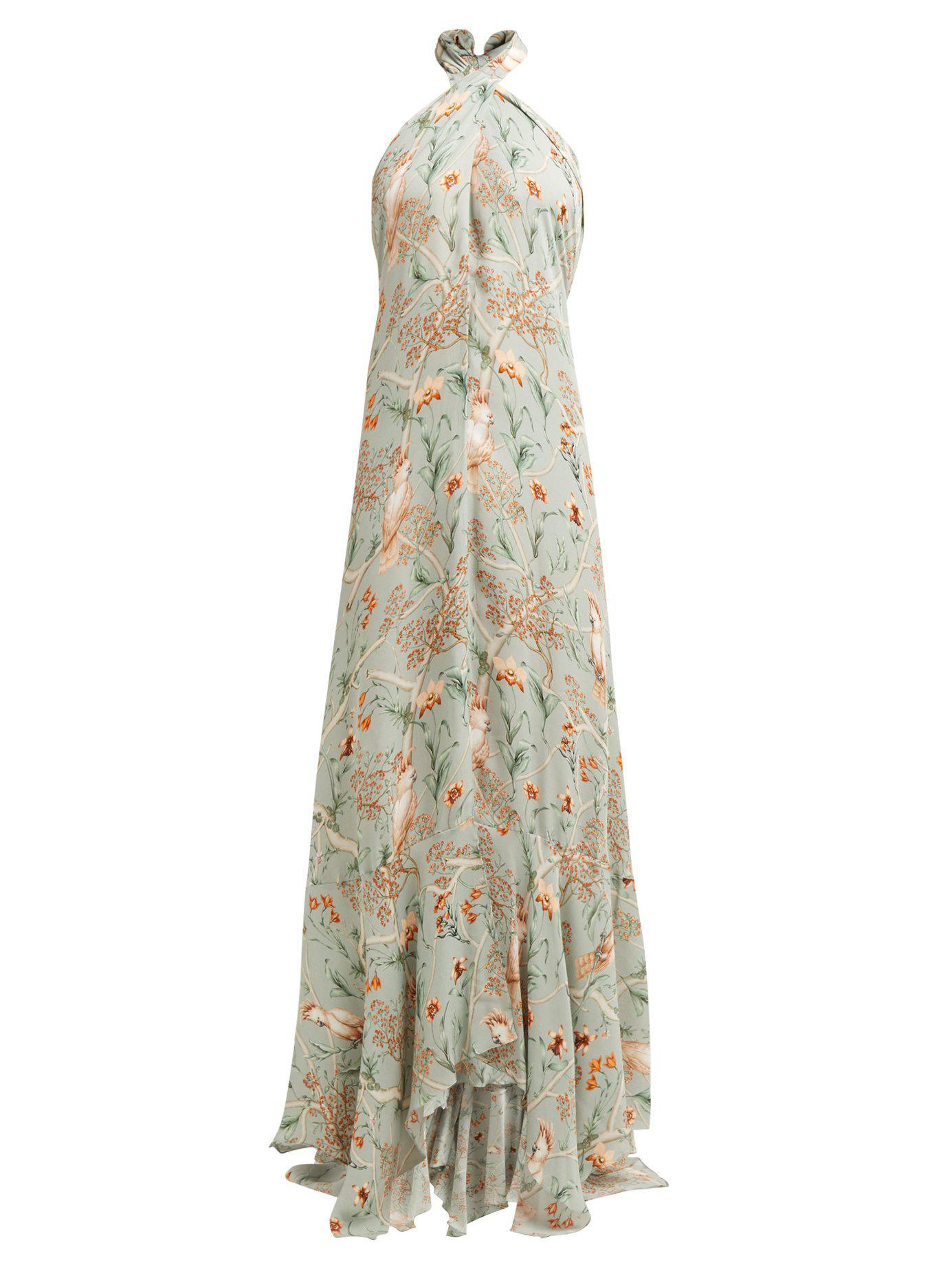 1bbd3fa4b15 Lyst - Johanna Ortiz Vanuato Floral Print Silk Georgette Gown in Blue