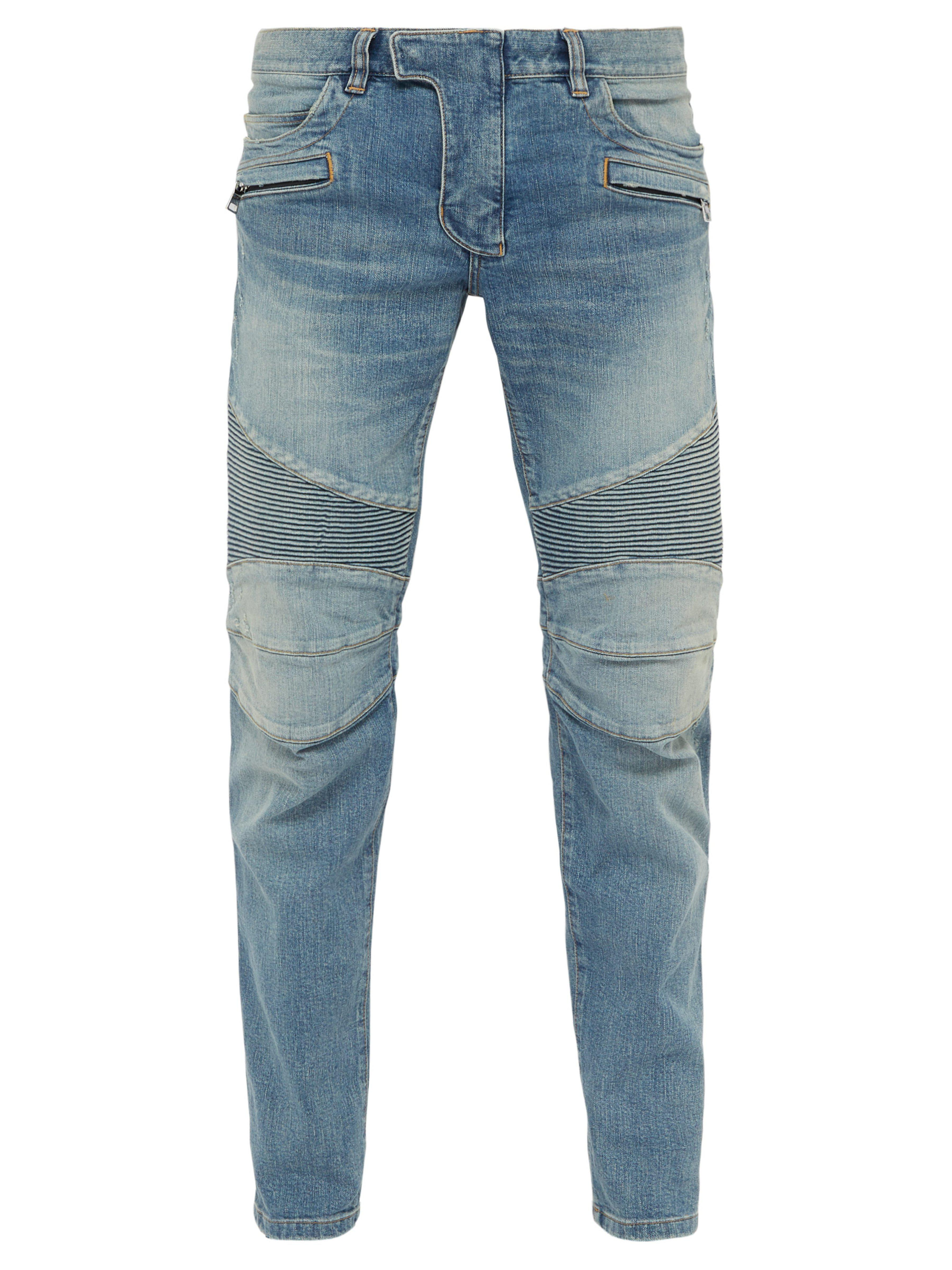 324a825a Balmain Tapered Ribbed Inset Biker Jeans in Blue for Men - Lyst