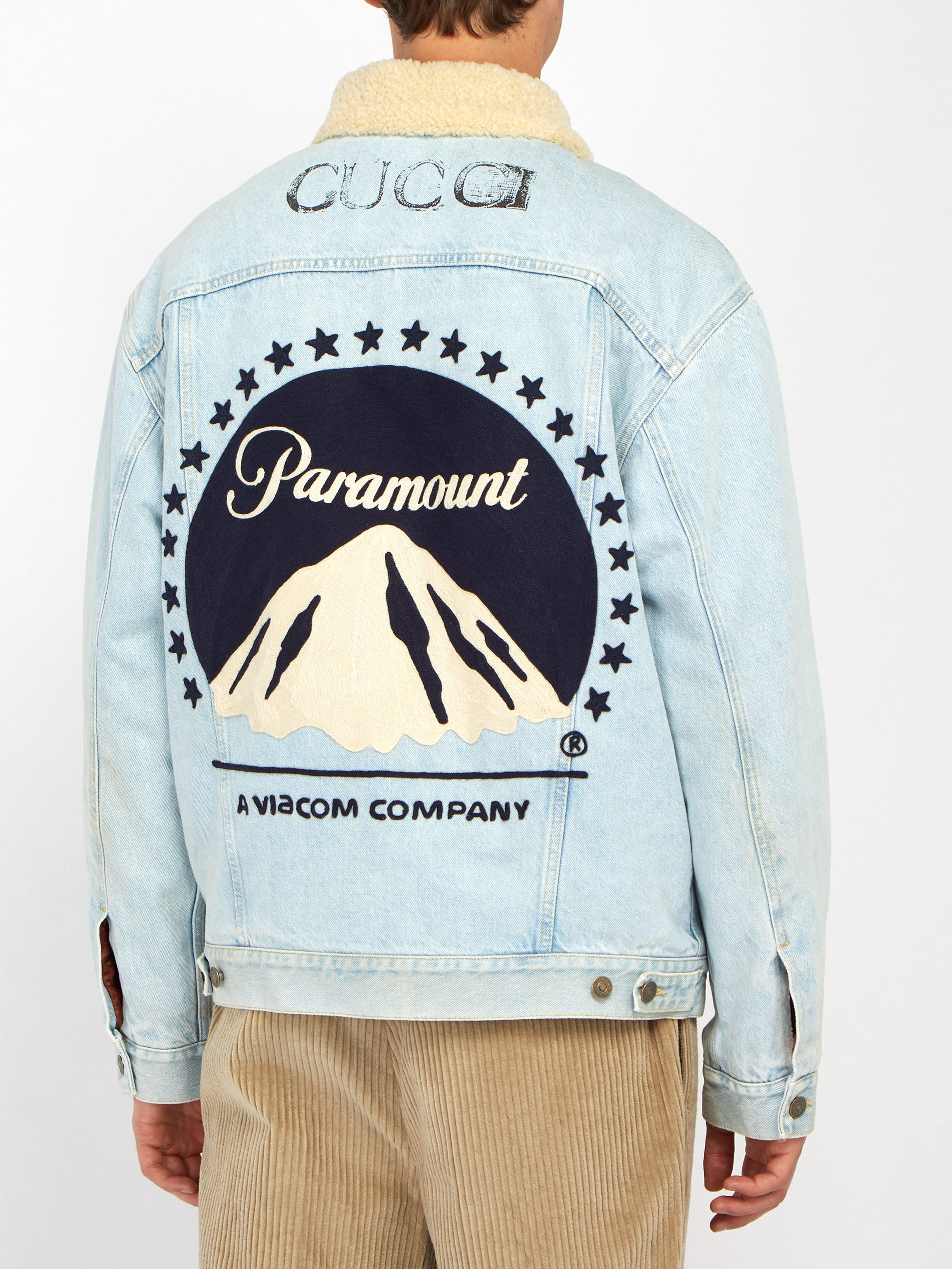 0387ad678 Gucci Paramount-embroidered Denim Jacket in Blue for Men - Lyst
