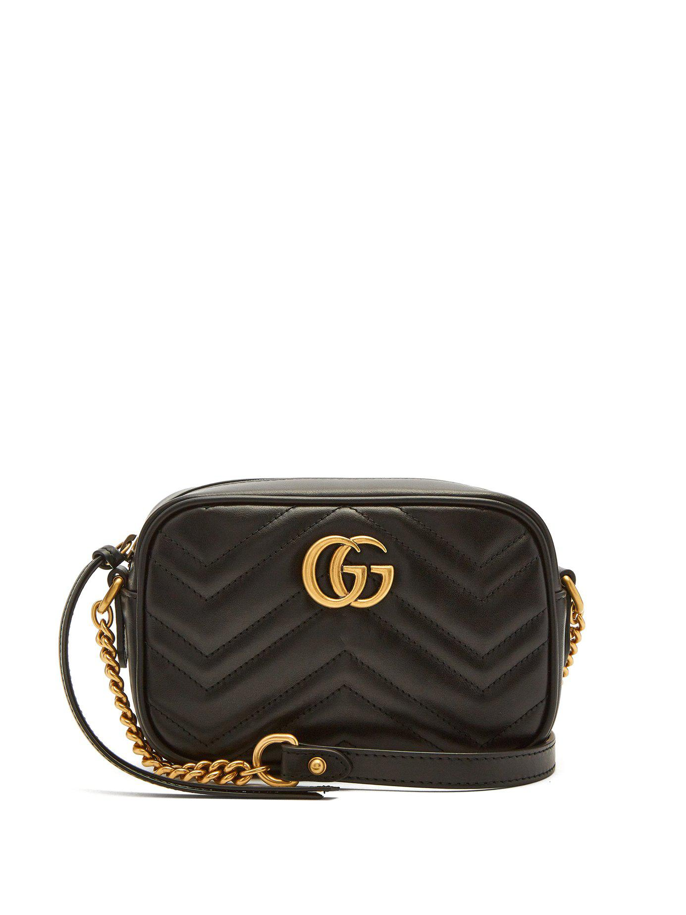 Lyst - Gucci Gg Marmont Mini Quilted Leather Cross Body Bag in Black cd25c03496a54