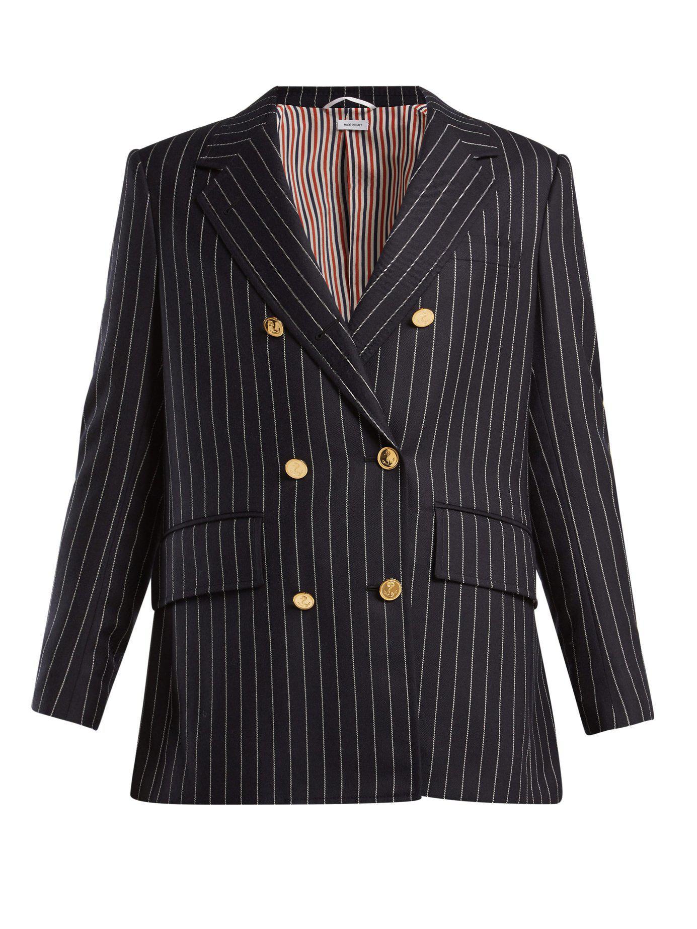 c23f3a8efe Thom Browne Chalk Stripe Double Breasted Wool Blazer in Blue - Lyst