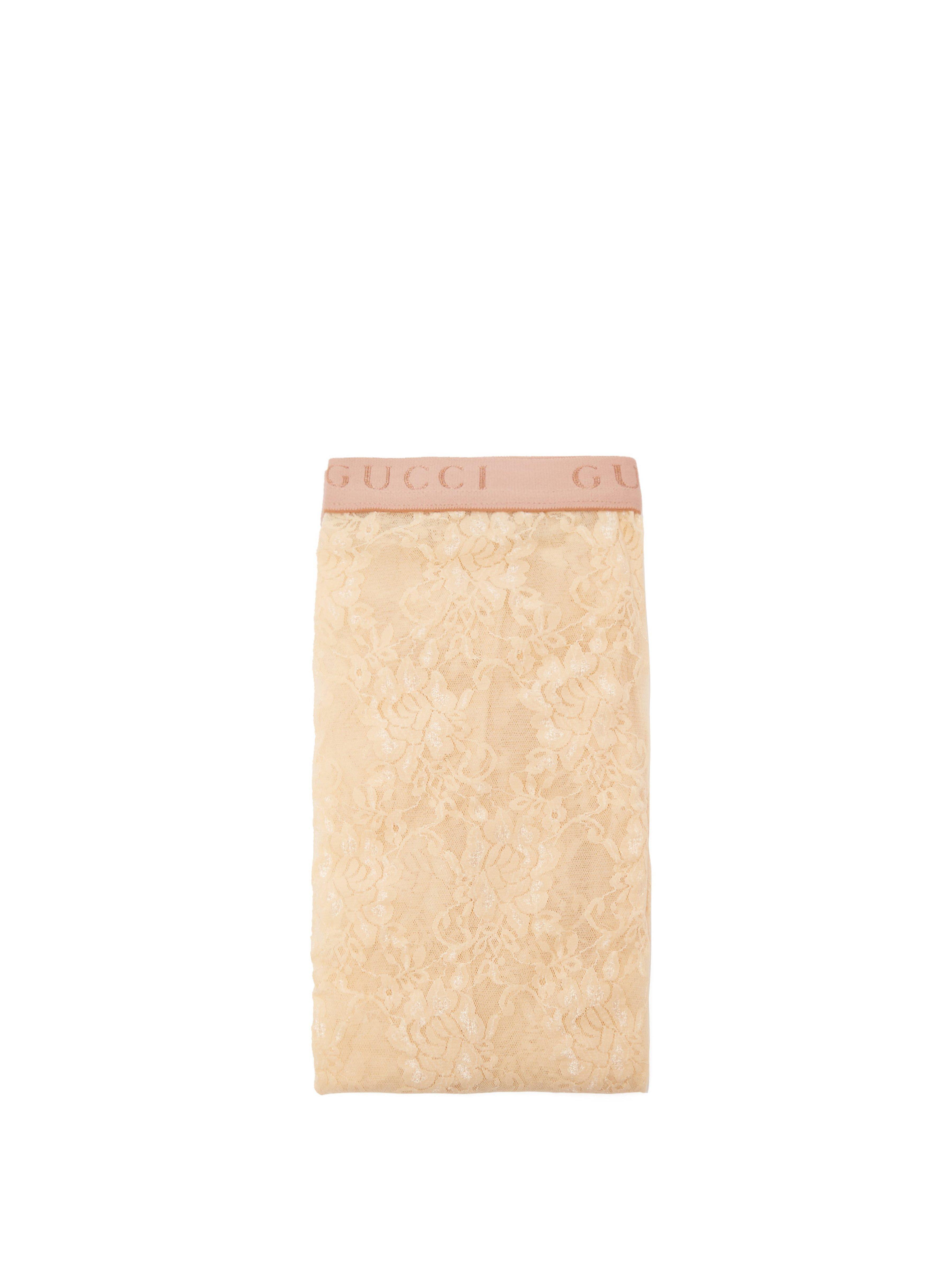 36e970860 Gucci Logo Jacquard Lace Tights in White - Lyst