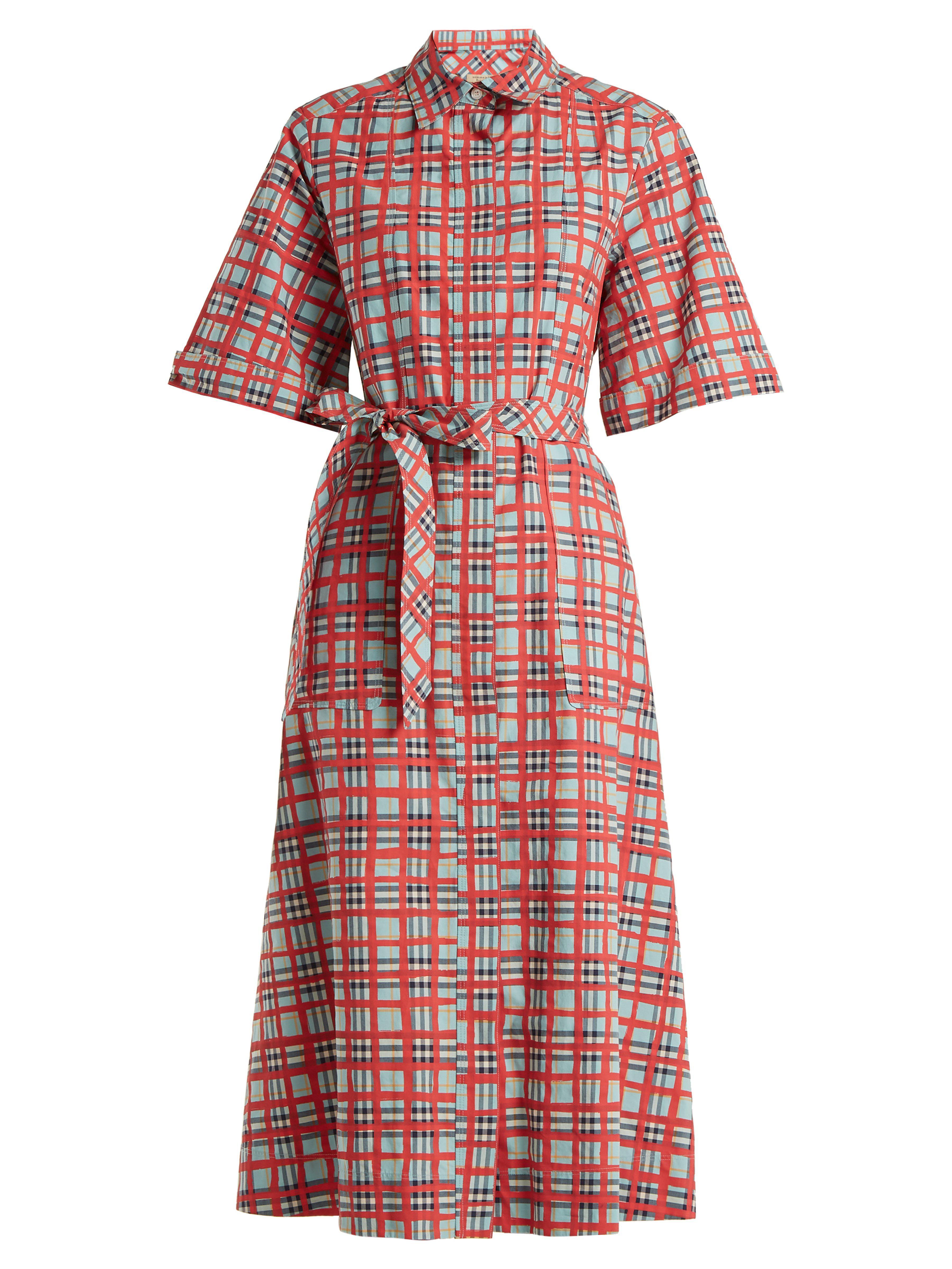 Lyst - Robe-chemise en coton à carreaux Carmen Burberry en coloris Rouge a264e90ec7a