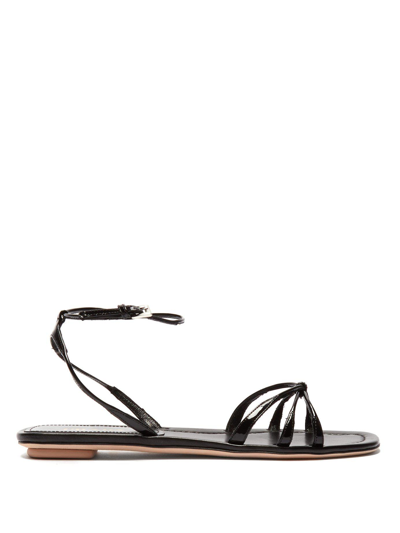df2c36794b0 Lyst - Prada Knot Front Patent Leather Sandals in Black