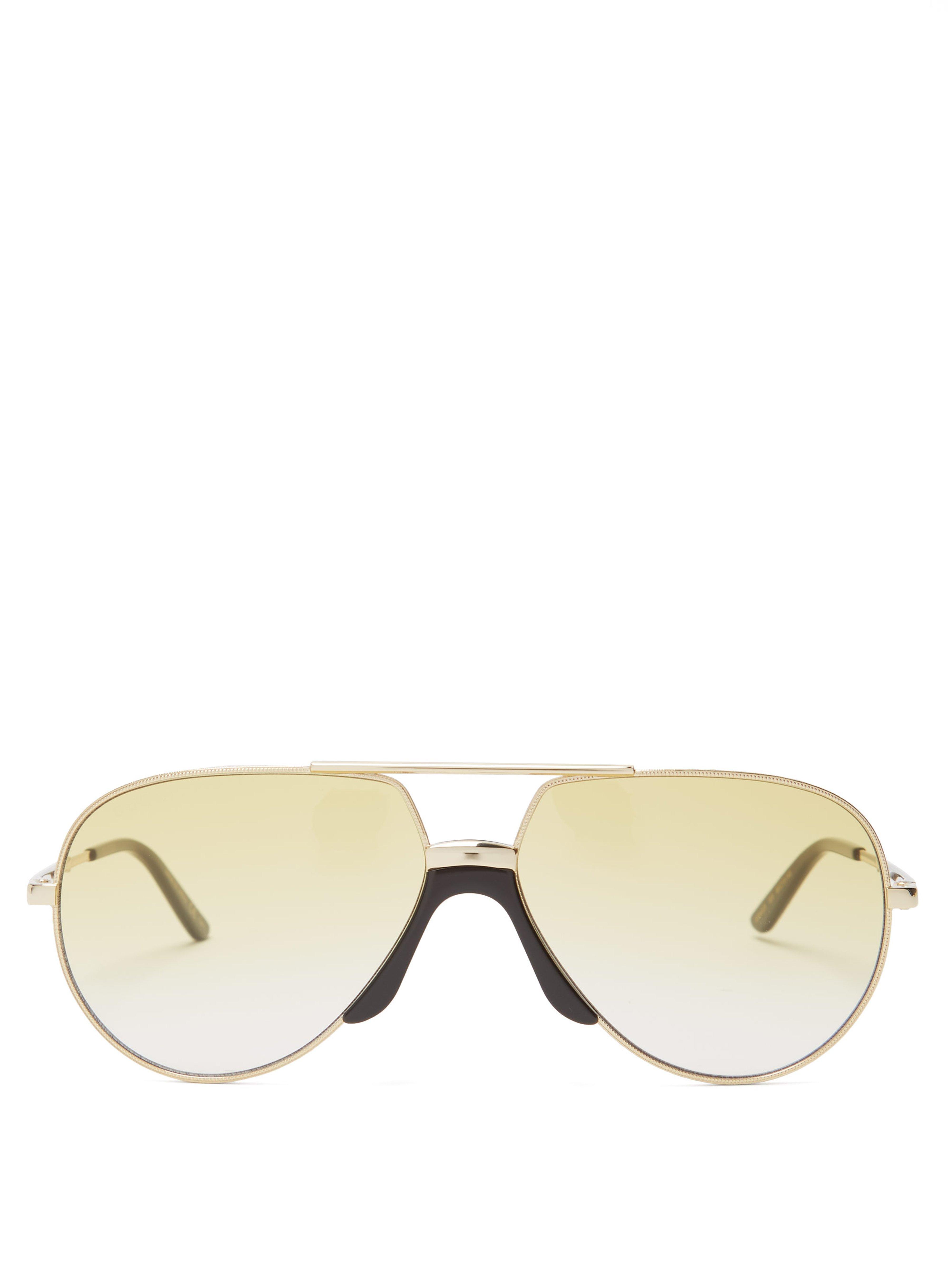 8c34642666b7 Gucci Aviator Metal Sunglasses in Metallic for Men - Lyst